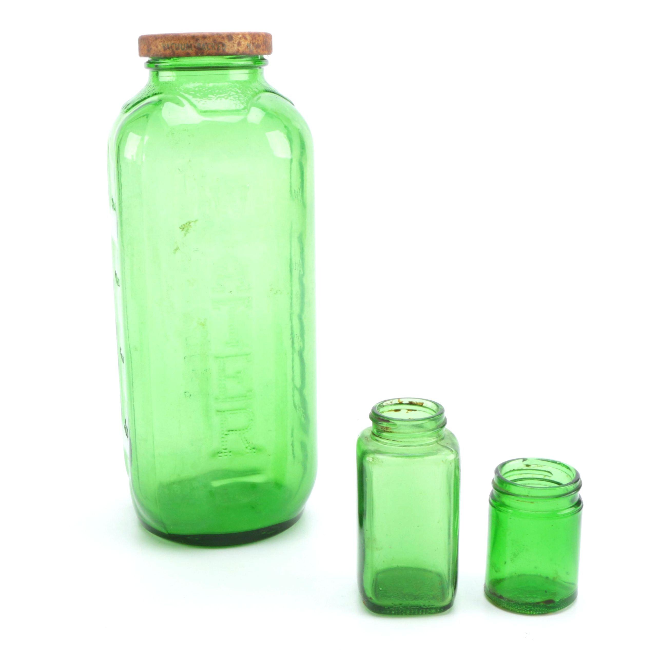 Vintage Green Glass Bottles