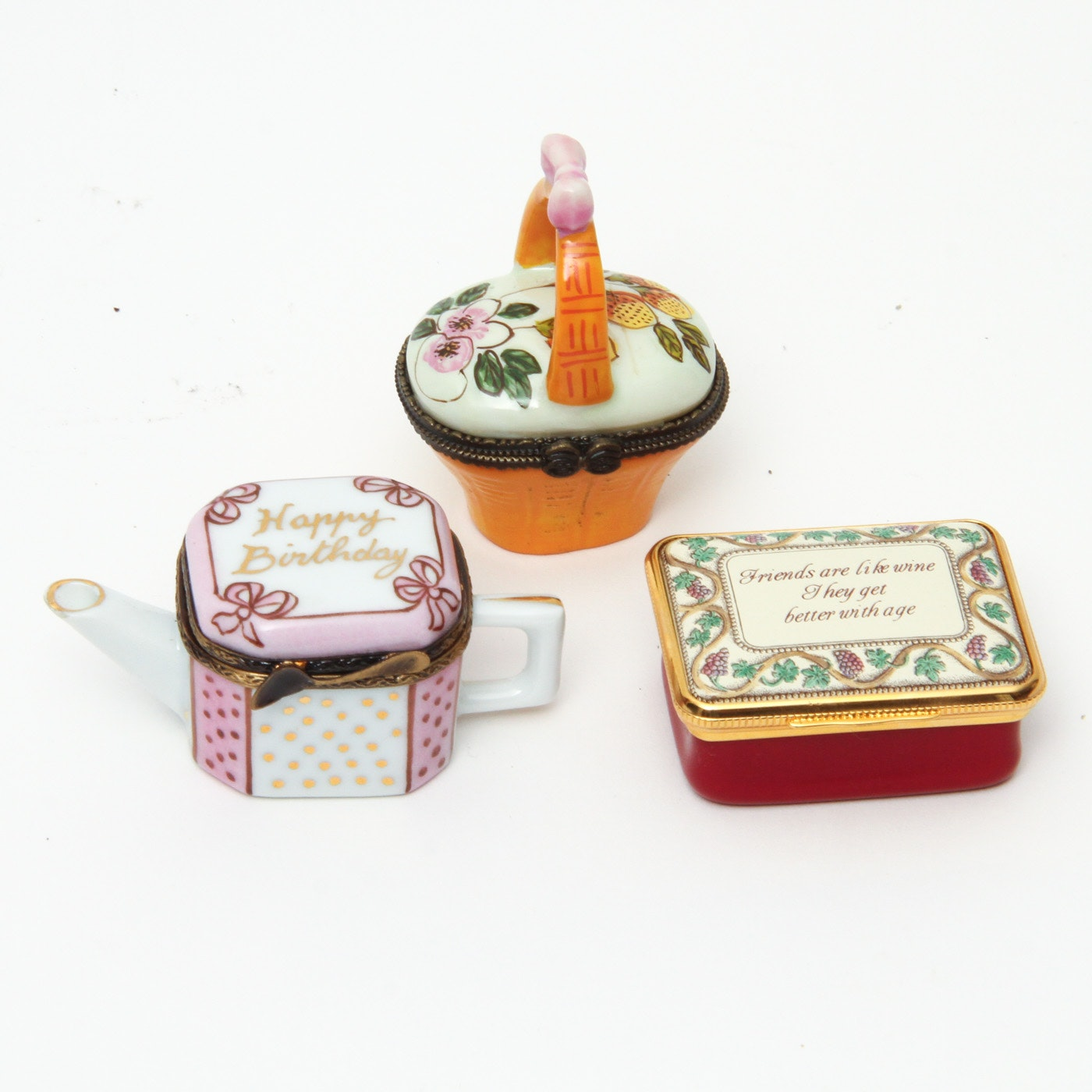 Collection of Porcelain Trinket Boxes Featuring Limoges and Halcyon Days