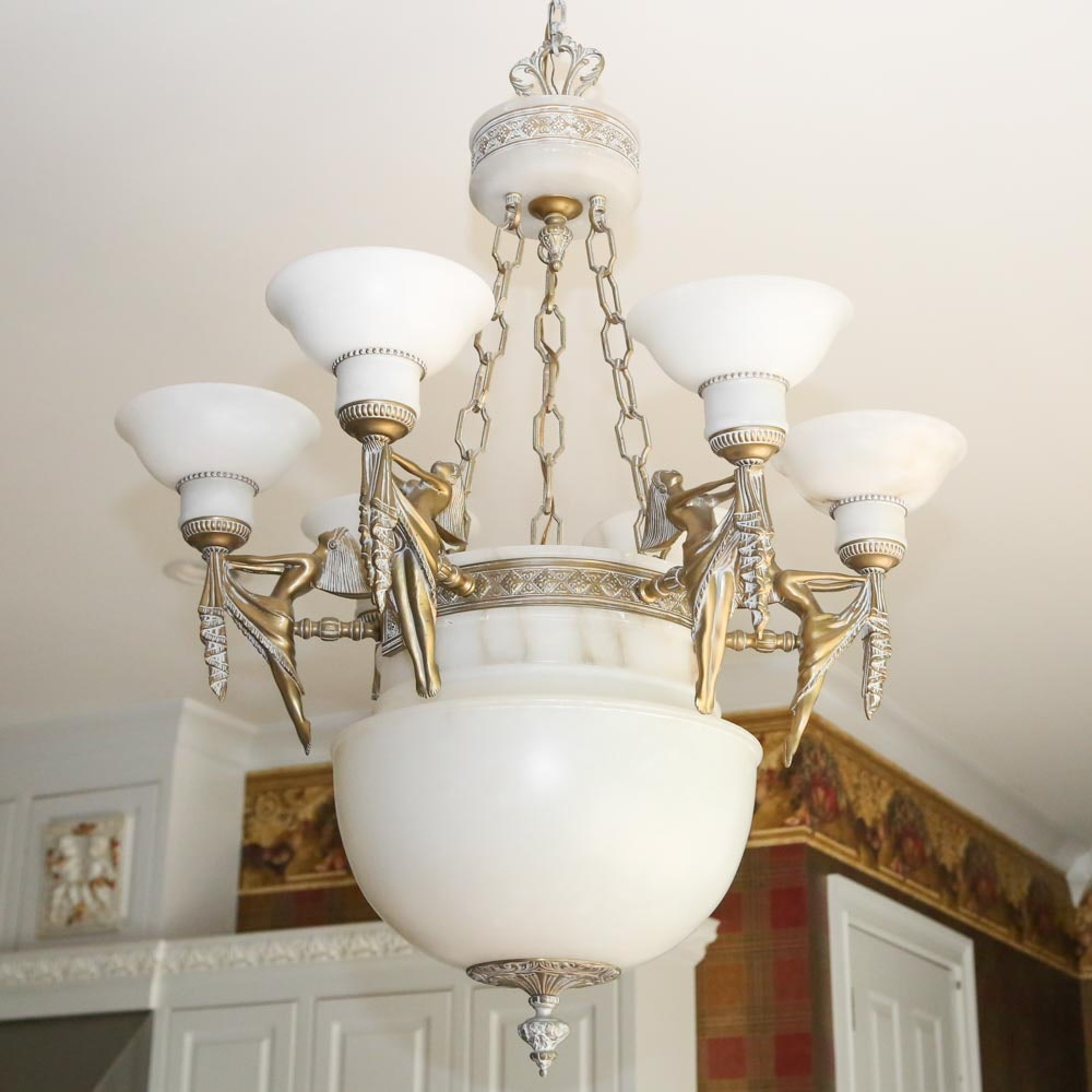 Art Deco Style Alabaster and Cast Metal Chandelier