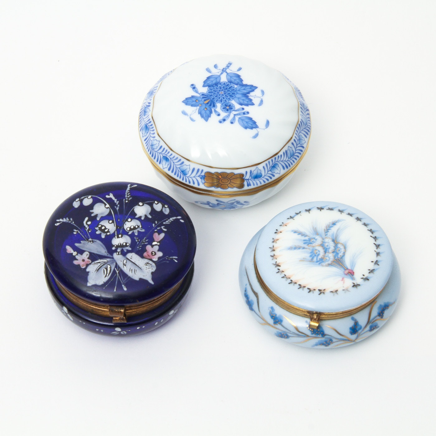 Antique Glass and Porcelain Trinket Boxes