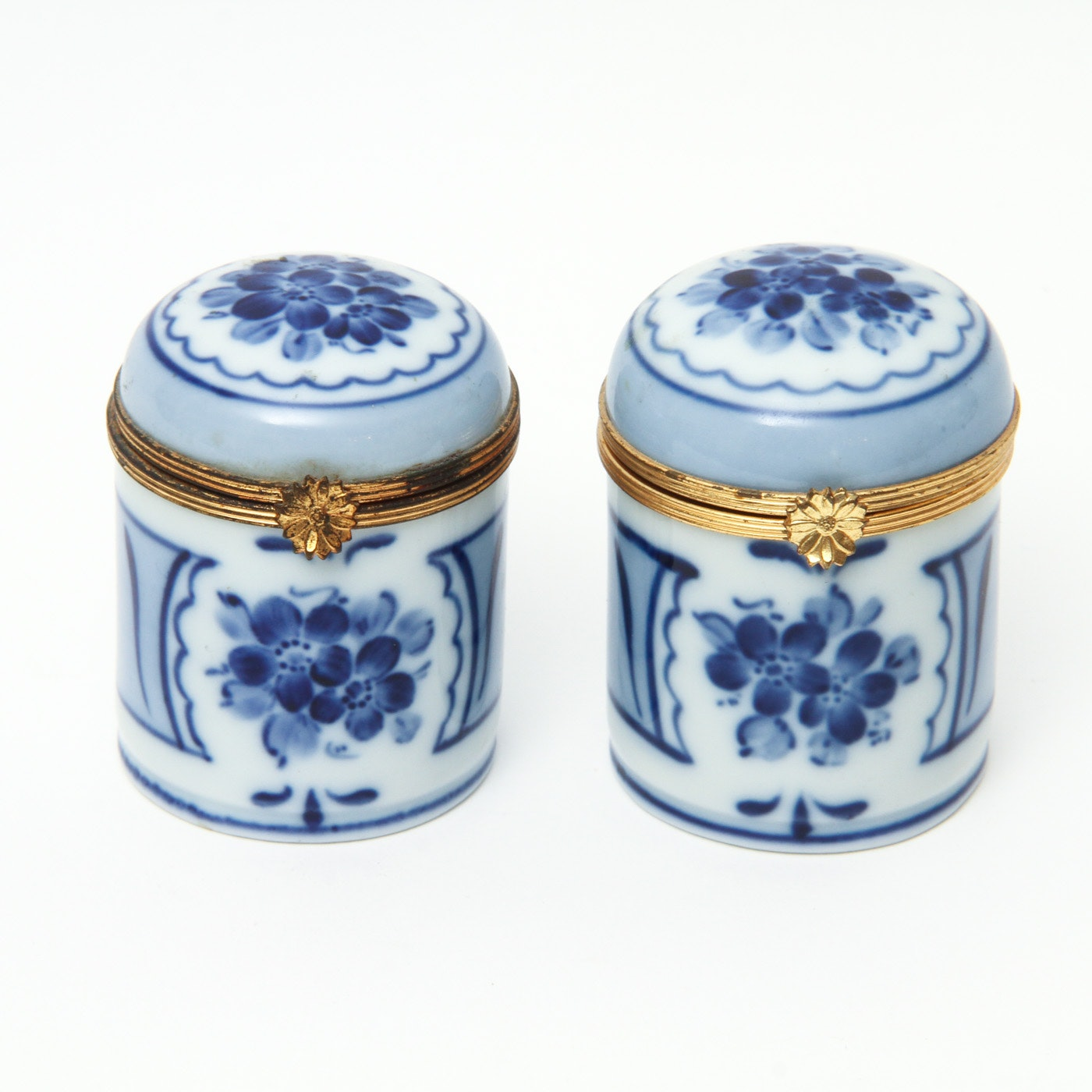 Pair of Vintage Limoges Hand Painted Blue and White Trinket Boxes