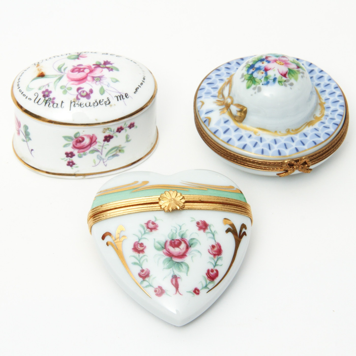 Collection of Trinket Boxes Including Limoges and Staffordshire