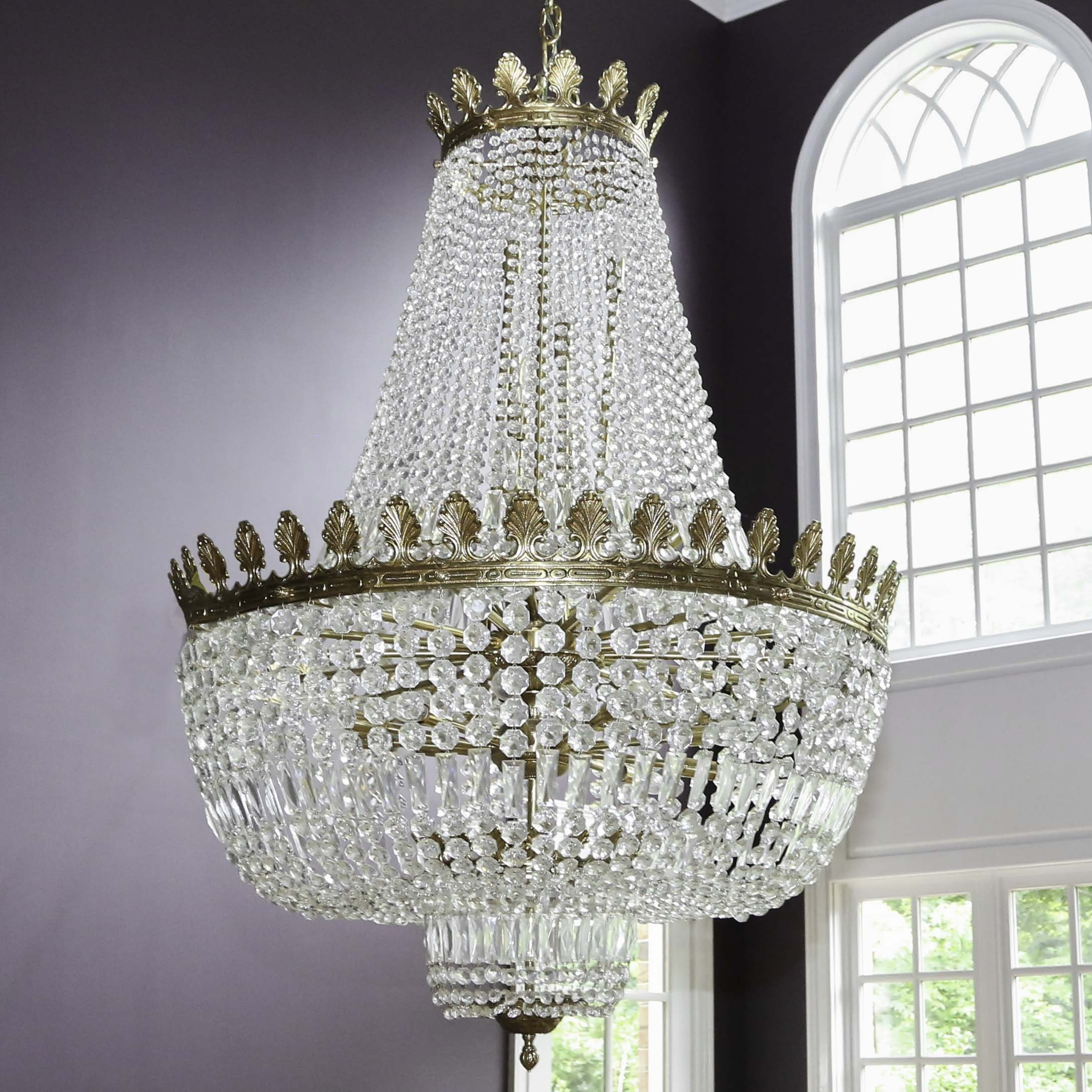 Large Neoclassical Crystal Chandelier