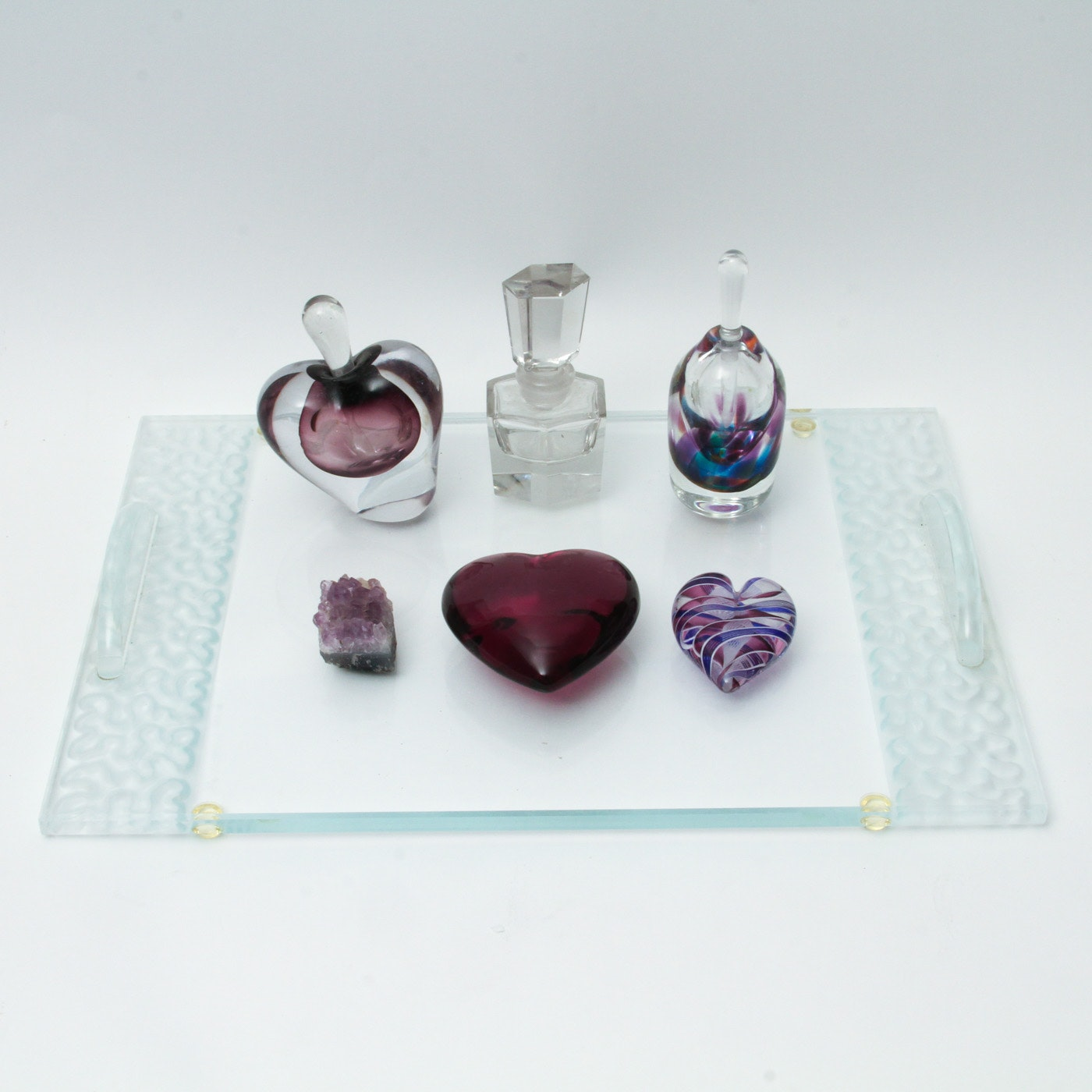 Collection of Perfume Bottles, Paper Weights and Vanity Tray