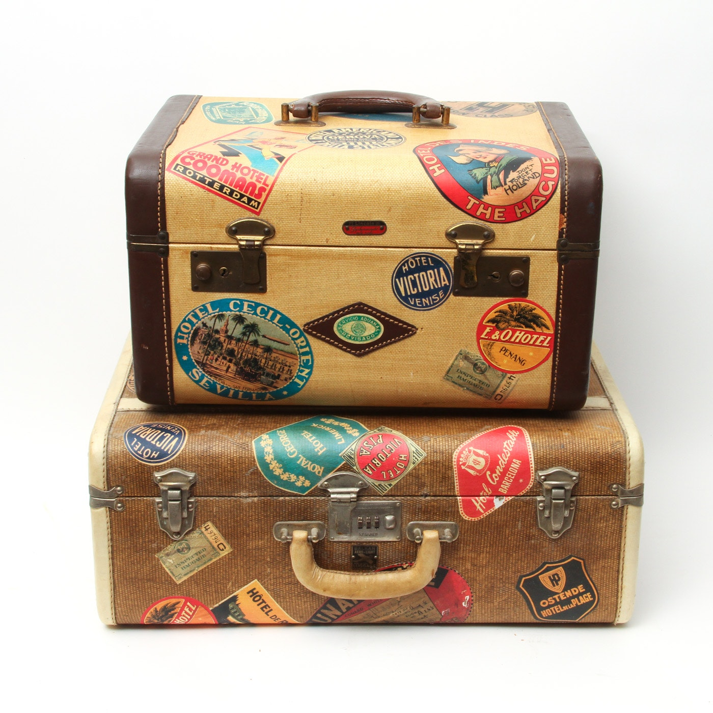 Pair of Vintage Suitcases with Travel Stickers including Lincoln Luggage