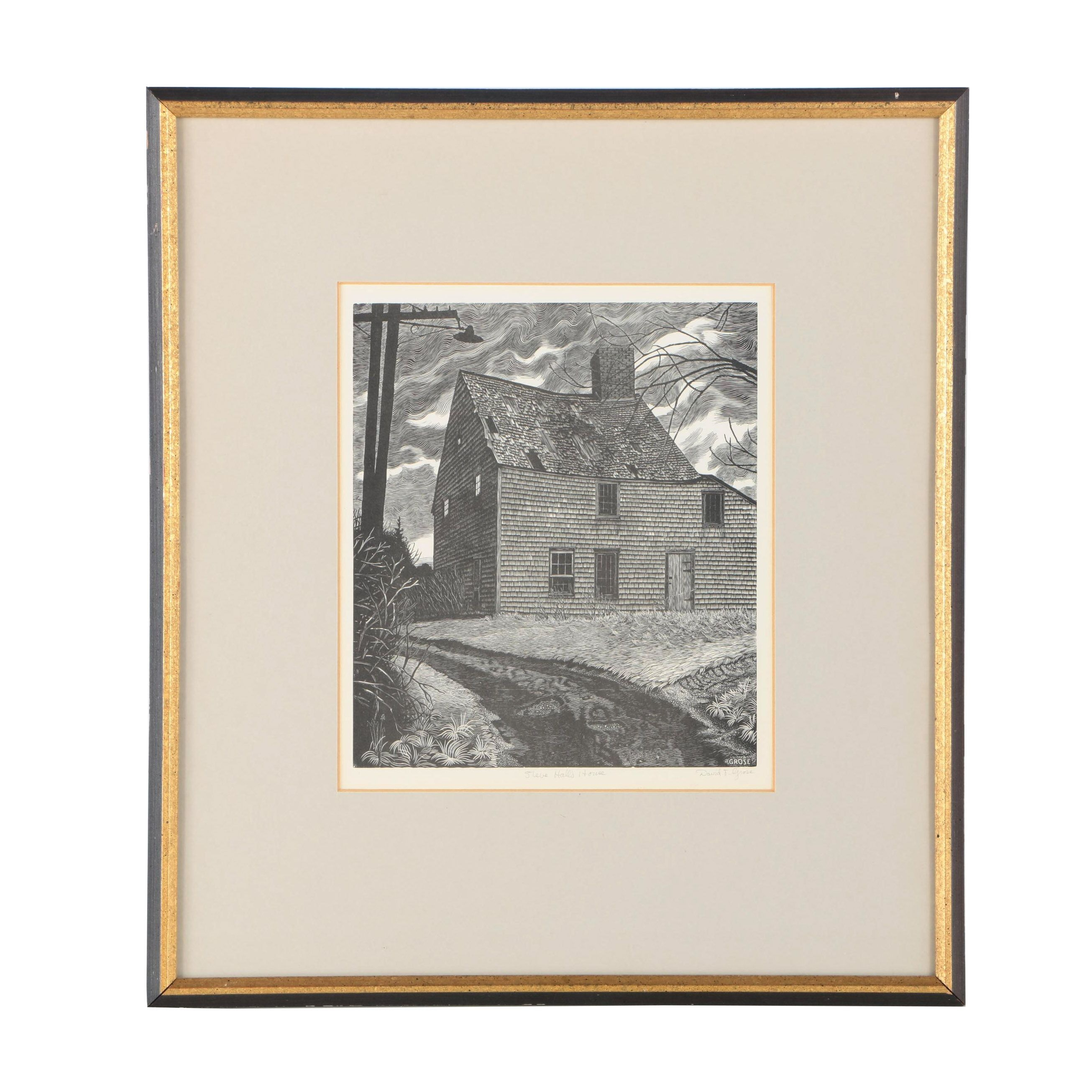 "David T. Grose Lithograph on Paper ""Steve Hall's House"""