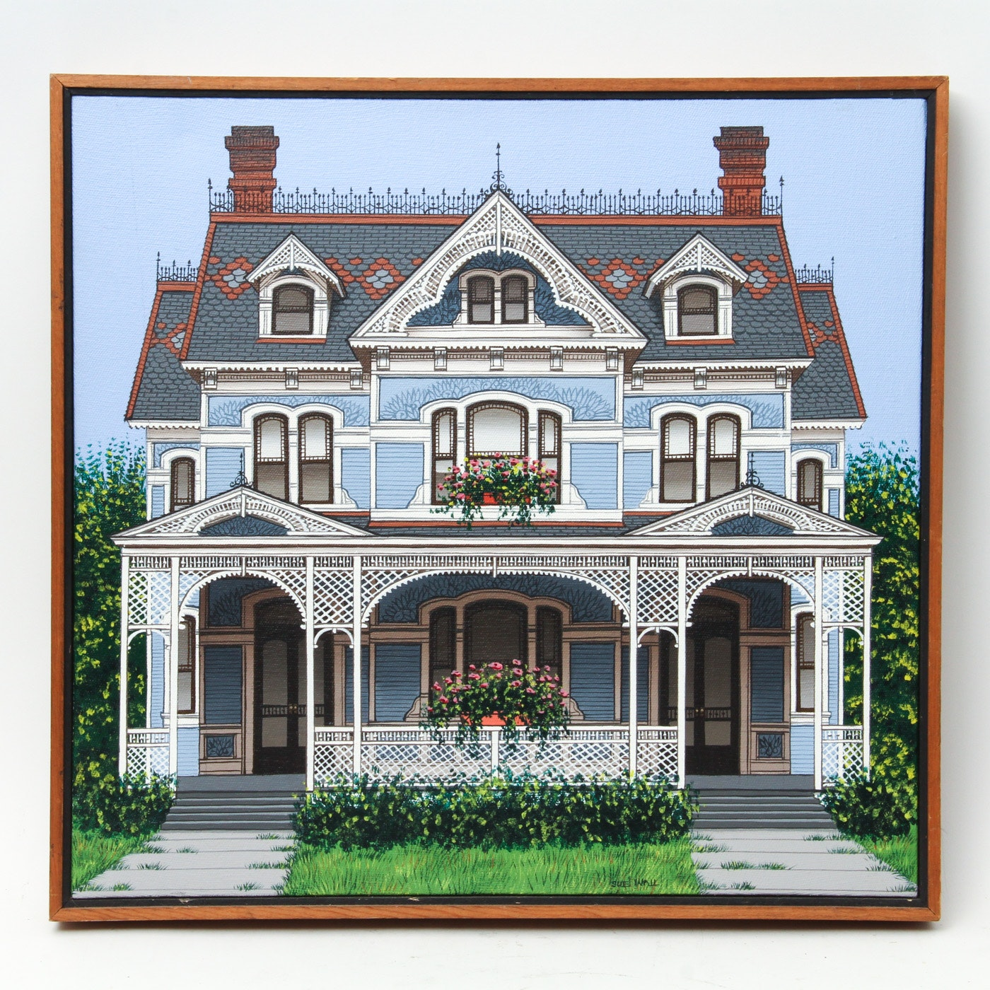 Sue Wall Acrylic on Canvas Victorian House Rendering
