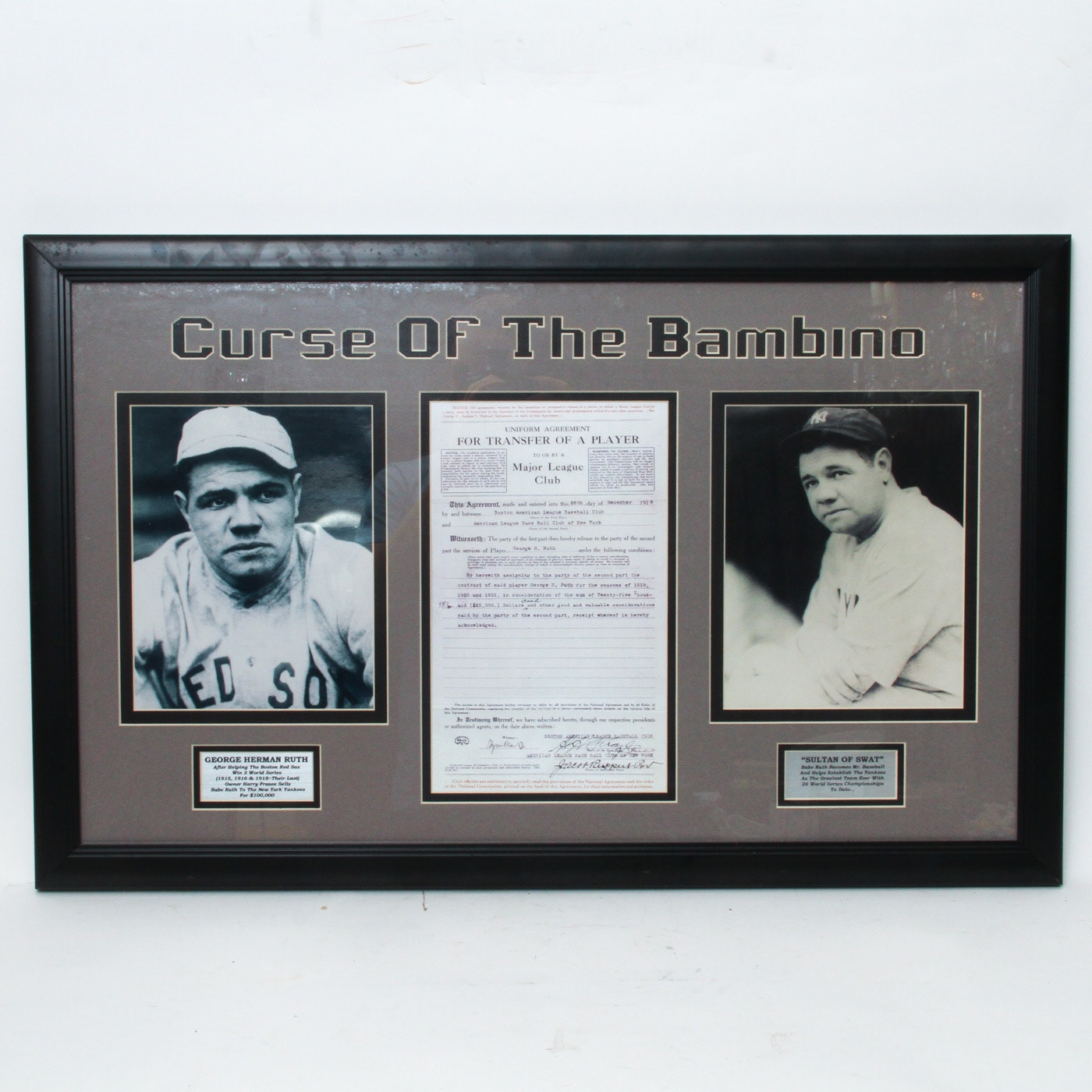 Curse of the Bambino Framed Transfer Agreement and Photos of Babe Ruth Reproduction
