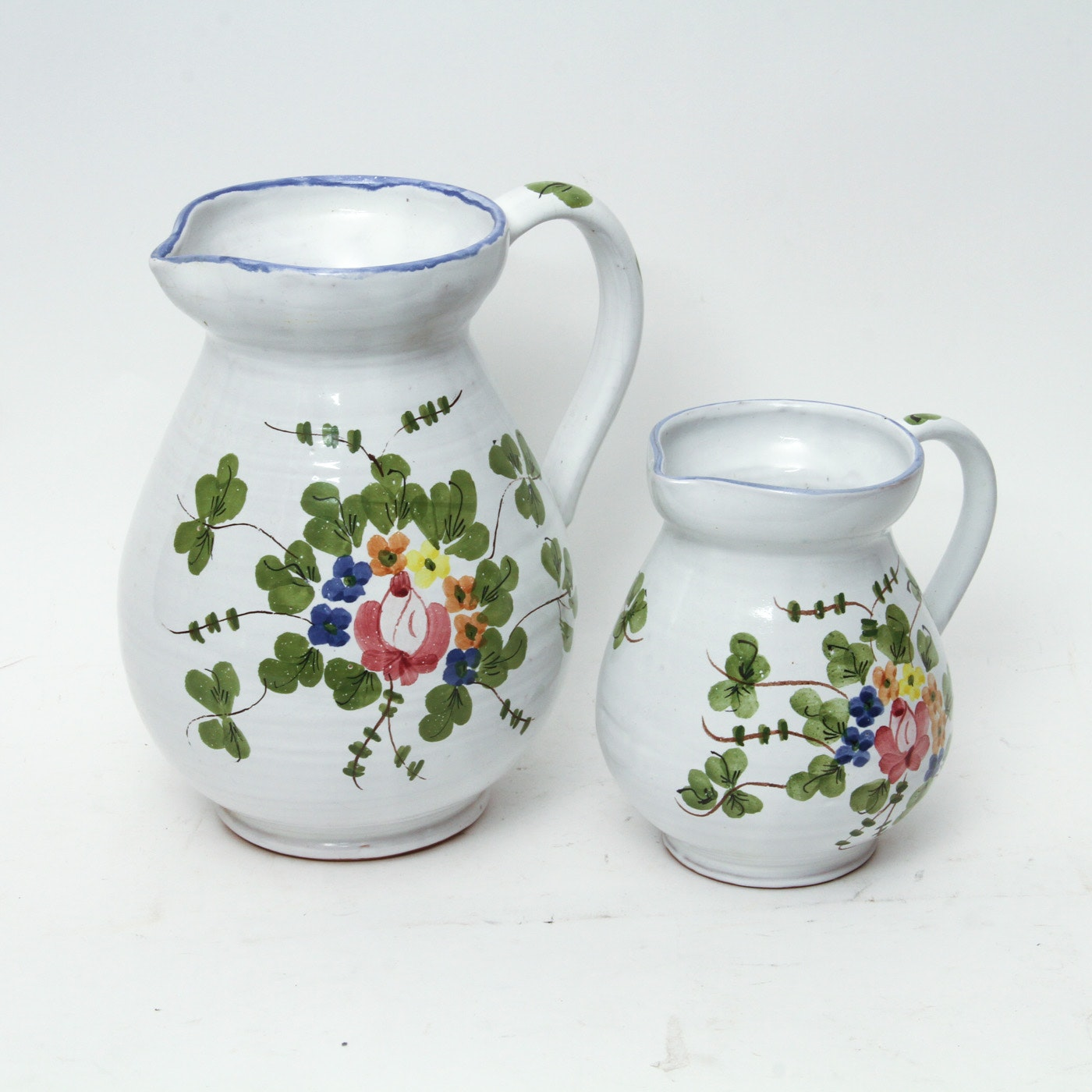 Pair of Vintage Italian Hand Painted Pitchers