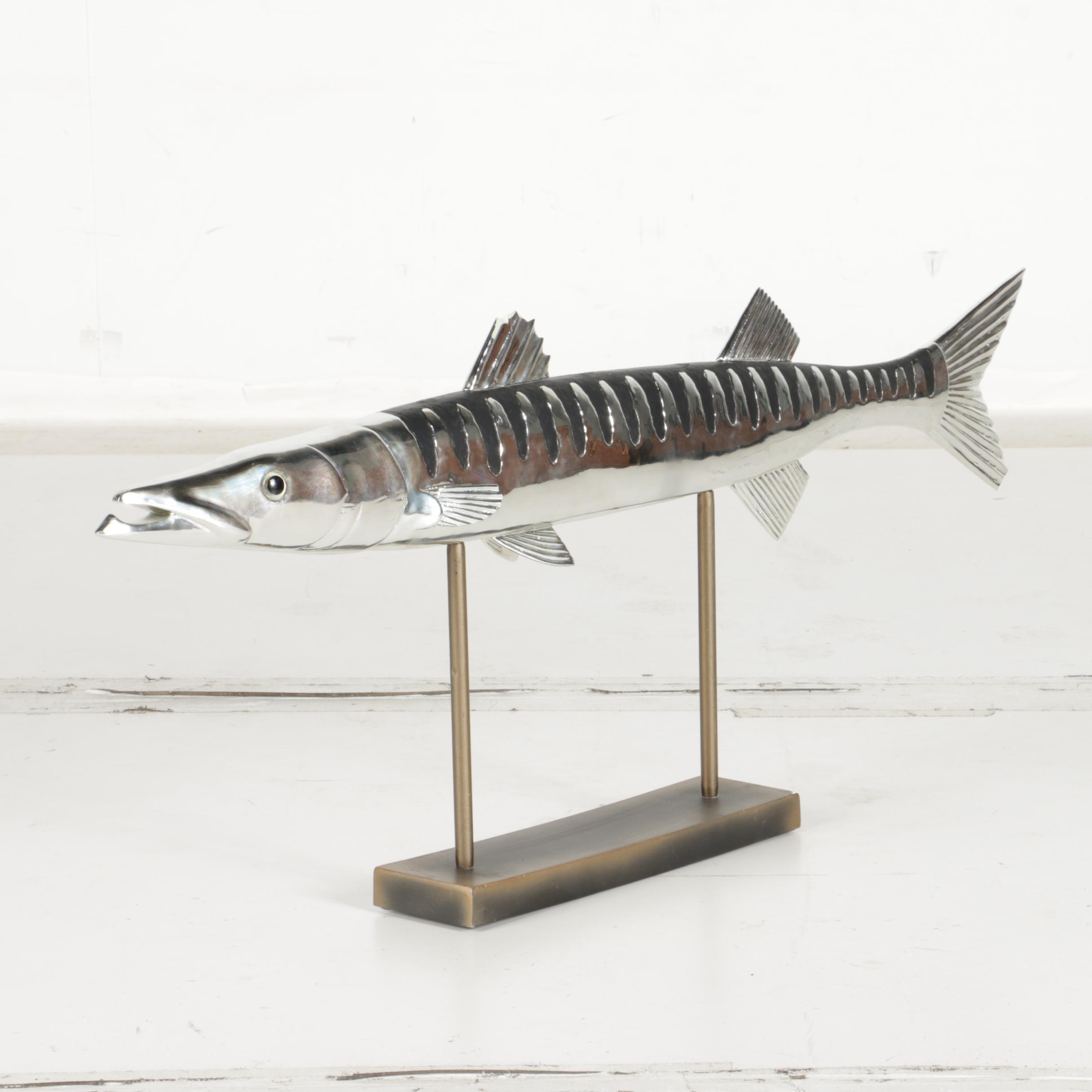 Silver Tone Barracuda Sculpture