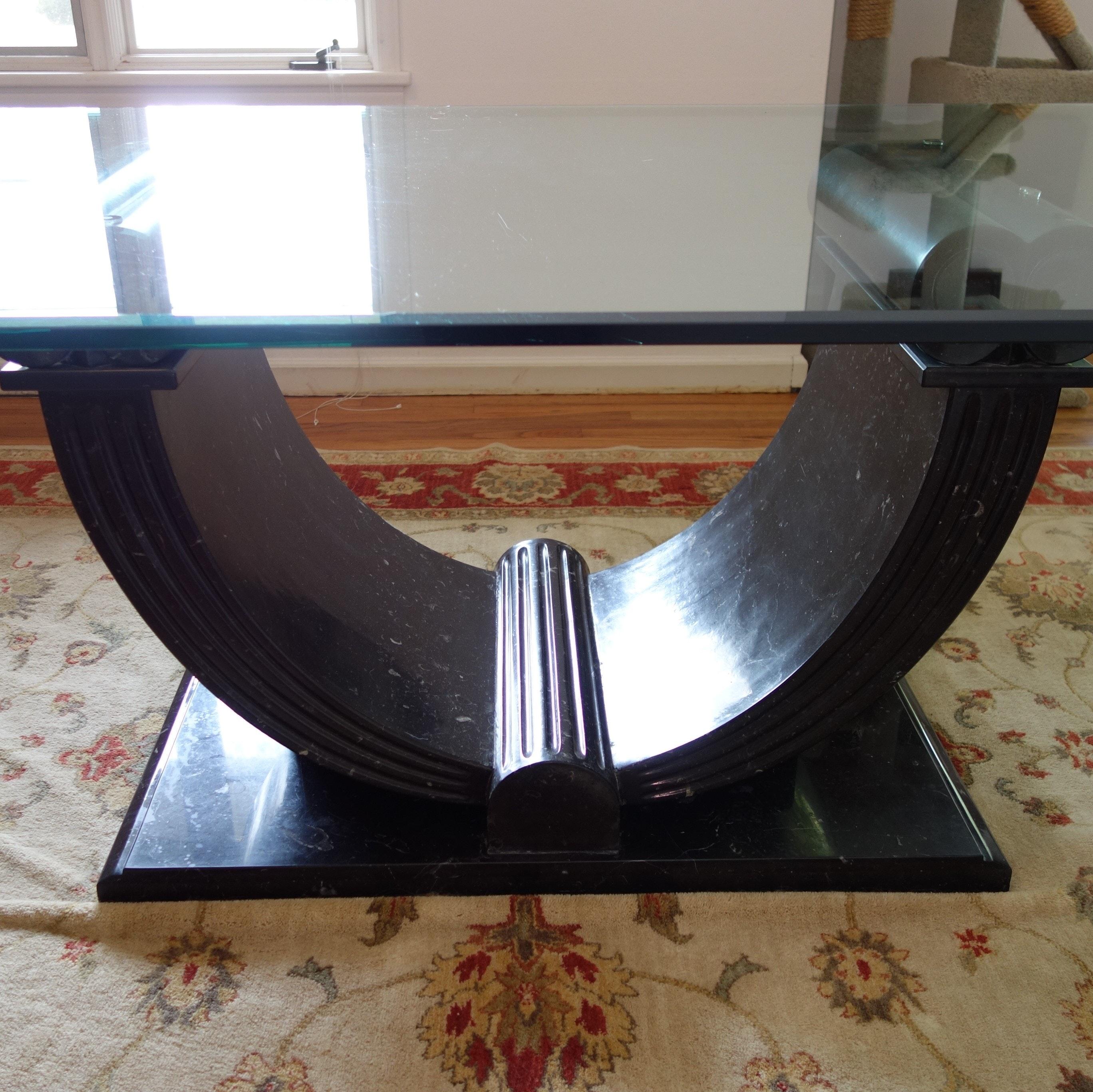 Argentina Custom Granite Base Glass Top Dining Table