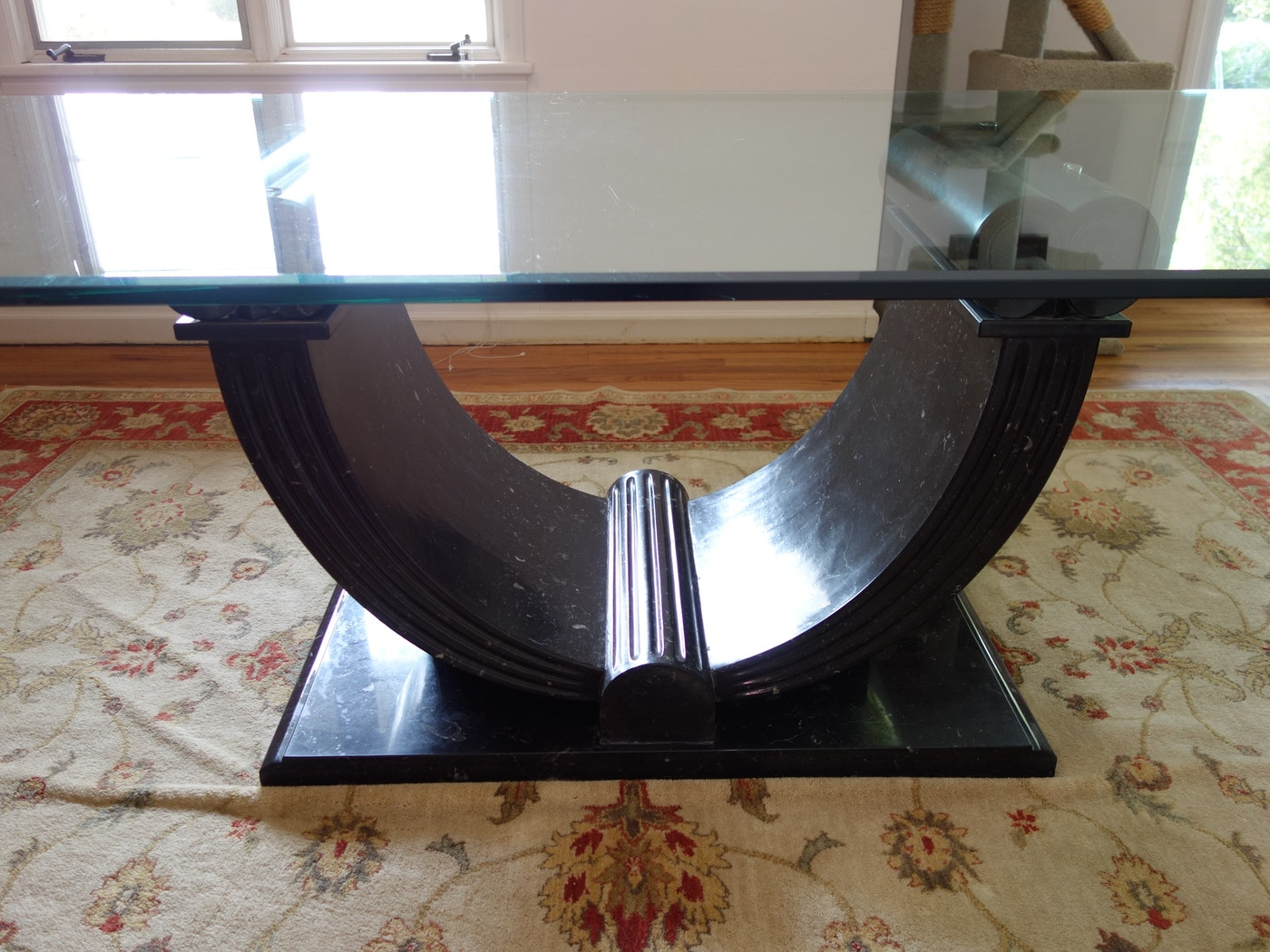 Custom granite base dining table with glass top from for Custom made marble dining tables