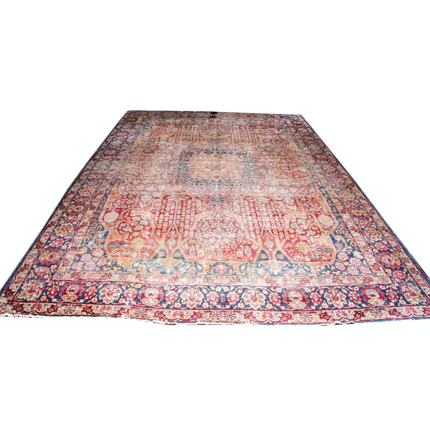 Large Antique Hand-Knotted Persian Wool Area Rug