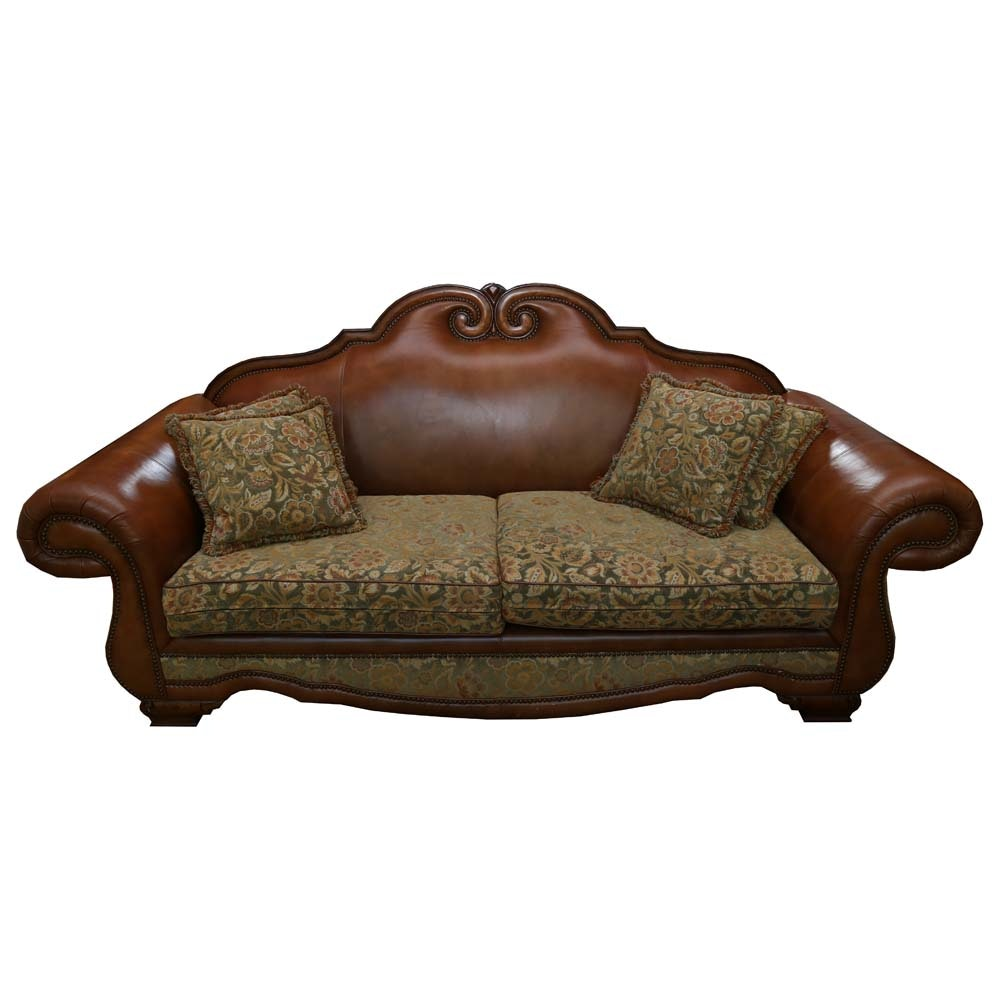 Beau Edwardian Inspired Leather And Tapestry Sofa ...