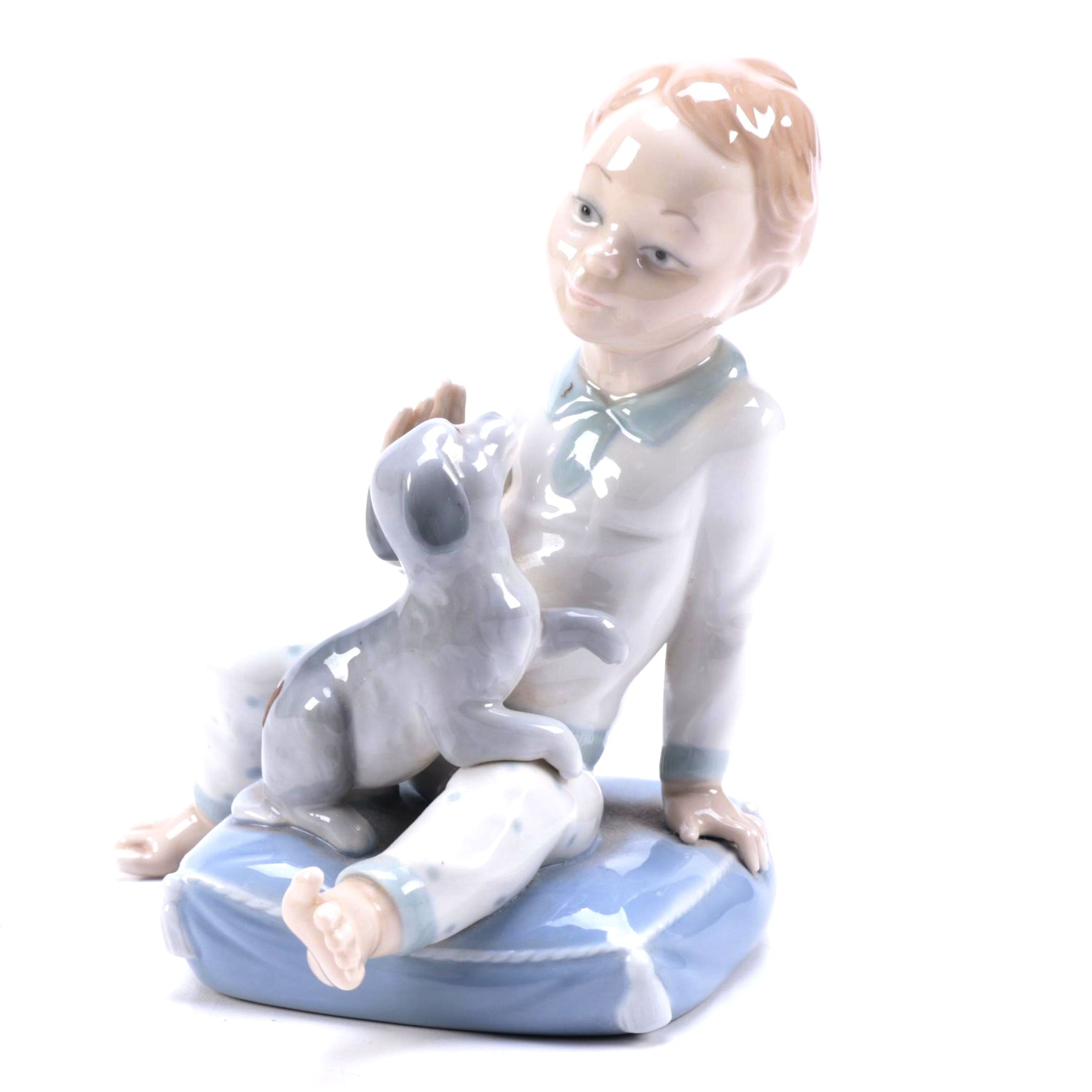 "Lladró Vintage ""Boy on Pillow with Puppy"" Figurine"