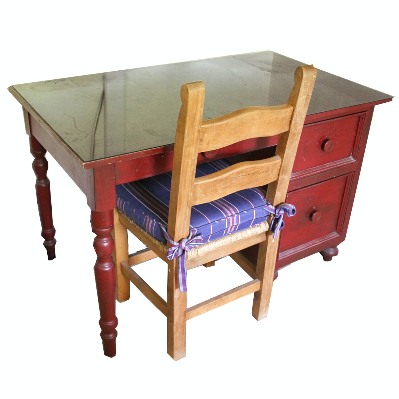 Red Painted Wood Desk and Rush Seat Chair