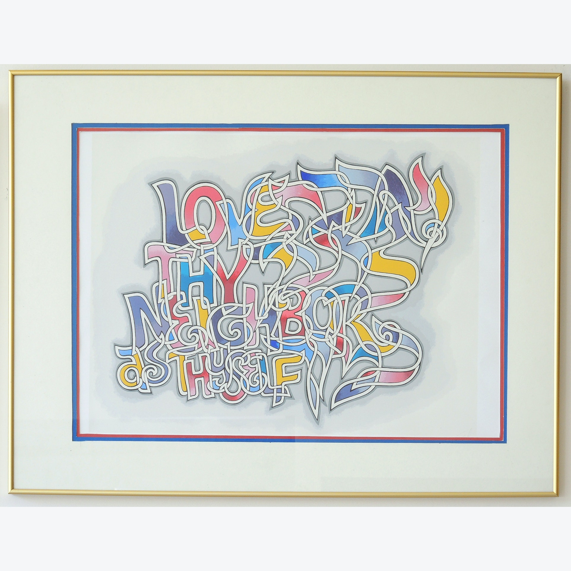 "Signed Michel Schwartz Serigraph ""Love Thy Neighbor"""