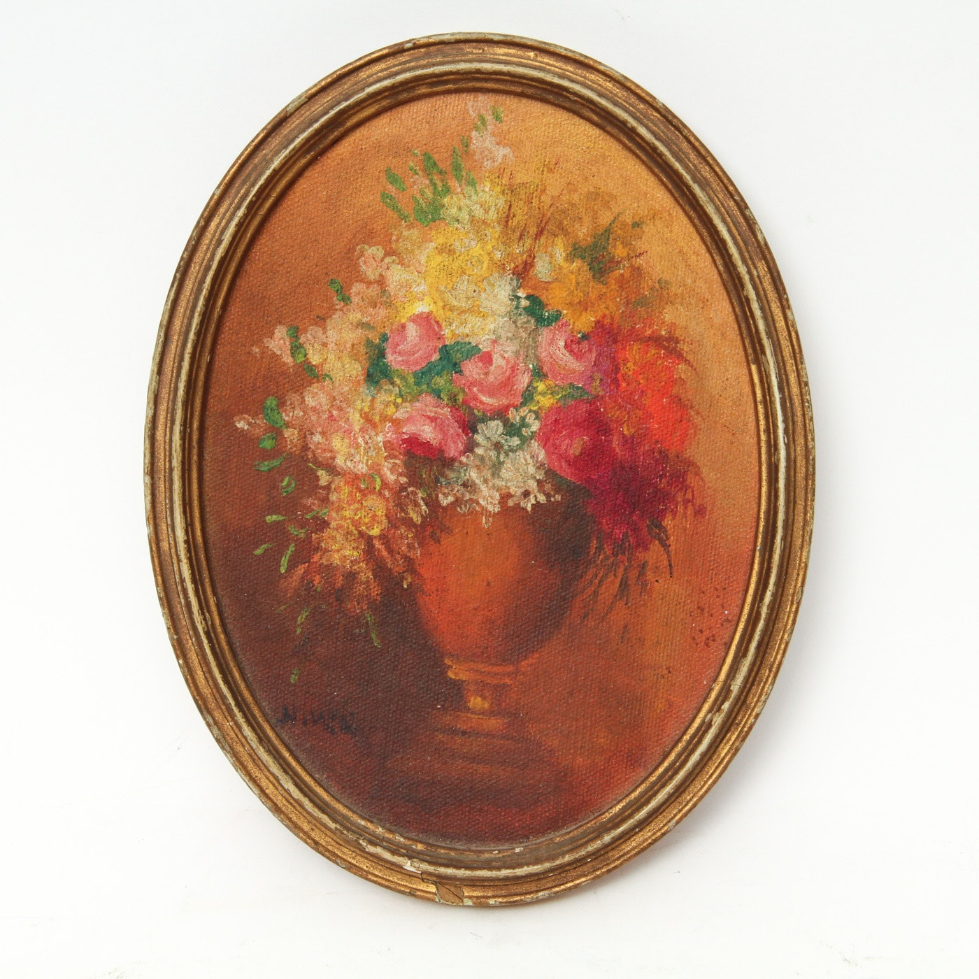 Antique Oil on Canvas Painting of a Floral Still Life