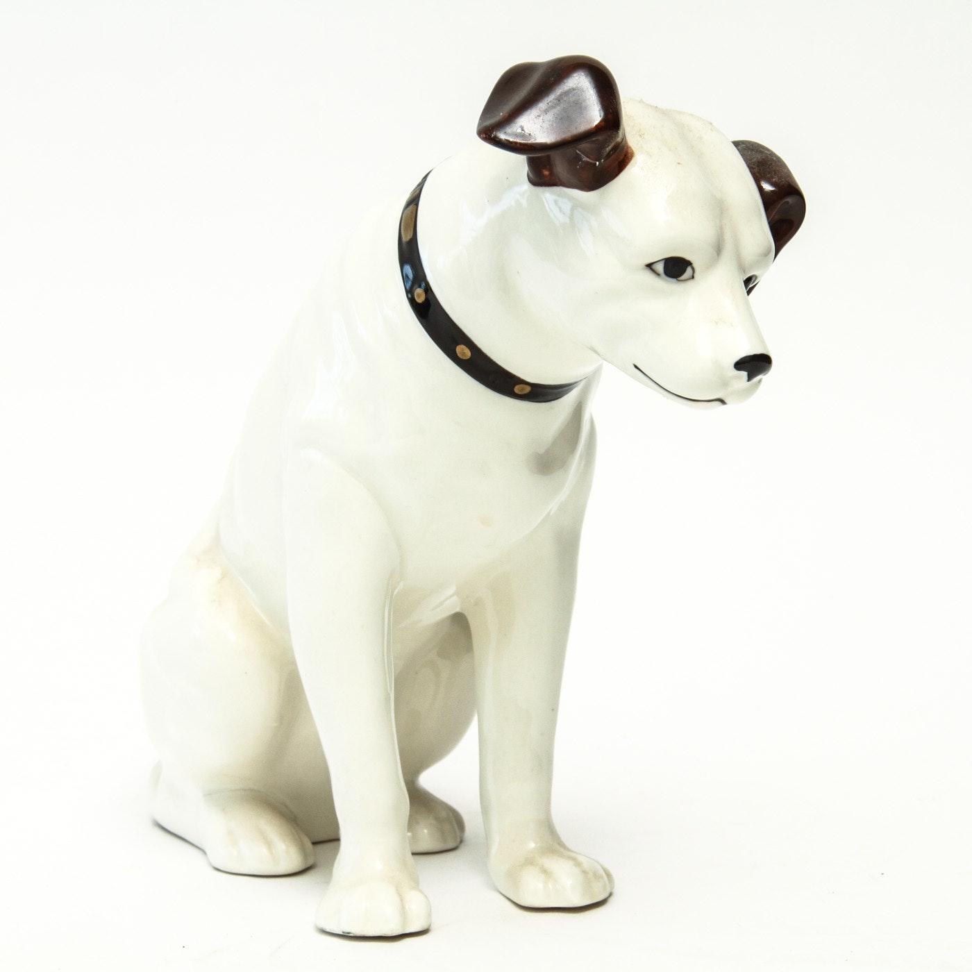 """RCA """"Nipper"""" Dog Ceramic Figurine"""