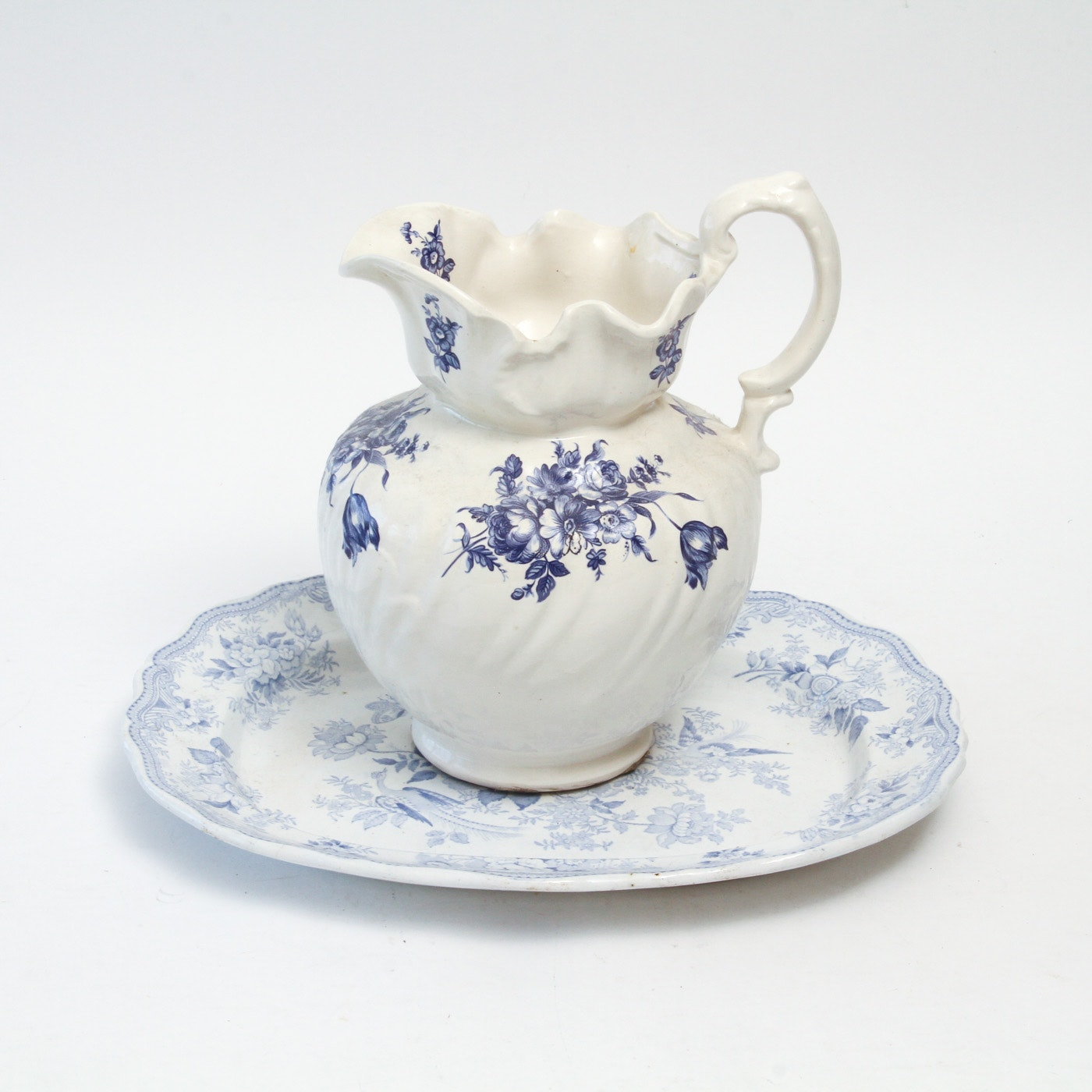 """Pair of Vintage Blue Transferware China Pieces Including Burleigh's """"Asiatic Pheasants"""""""