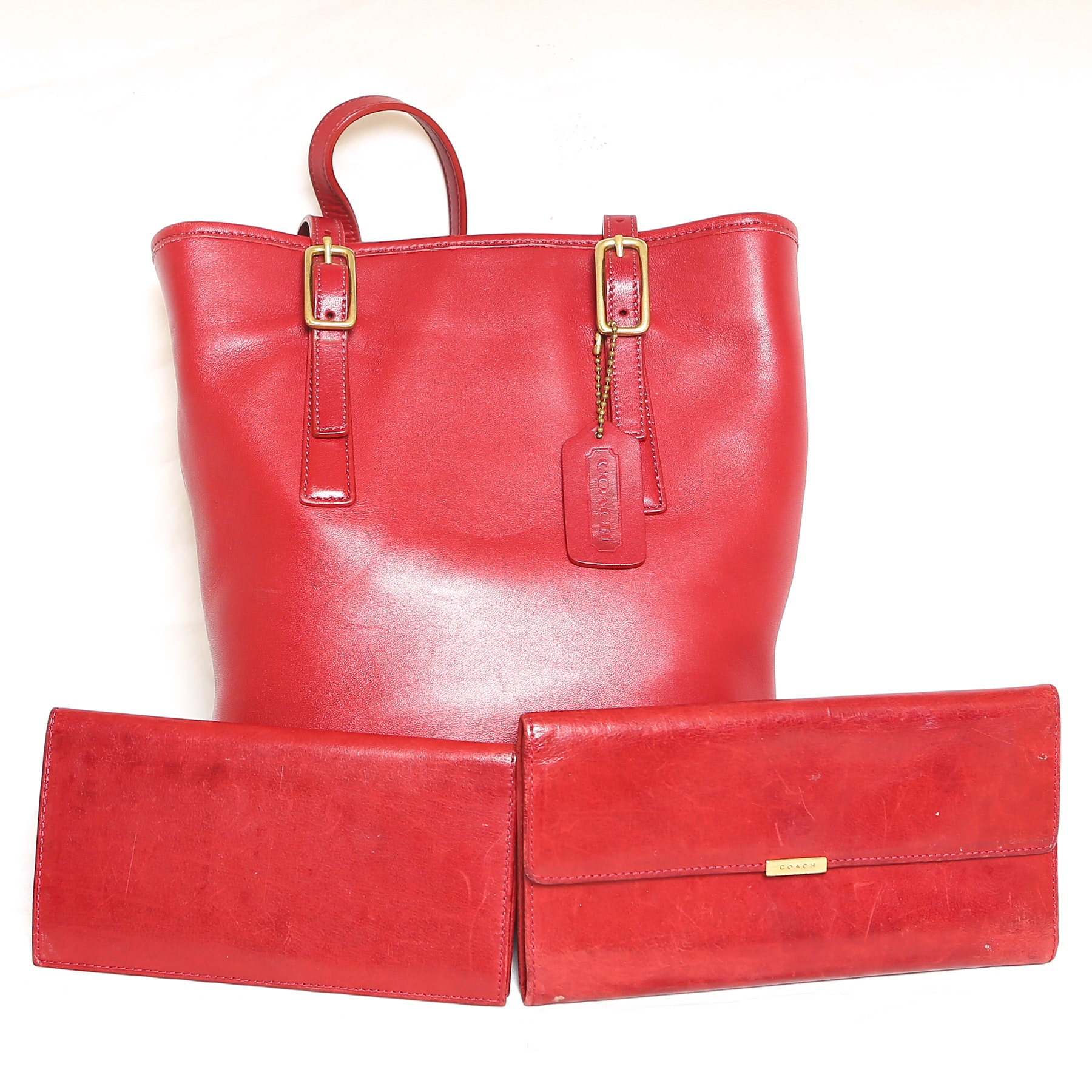 Red Leather Coach Bucket Bag with Wallet and Checkbook