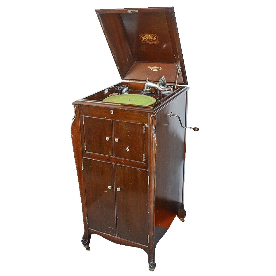 Early 20th Century Victor/Victrola Floor Model XI Turntable in Mahogany Cabinet