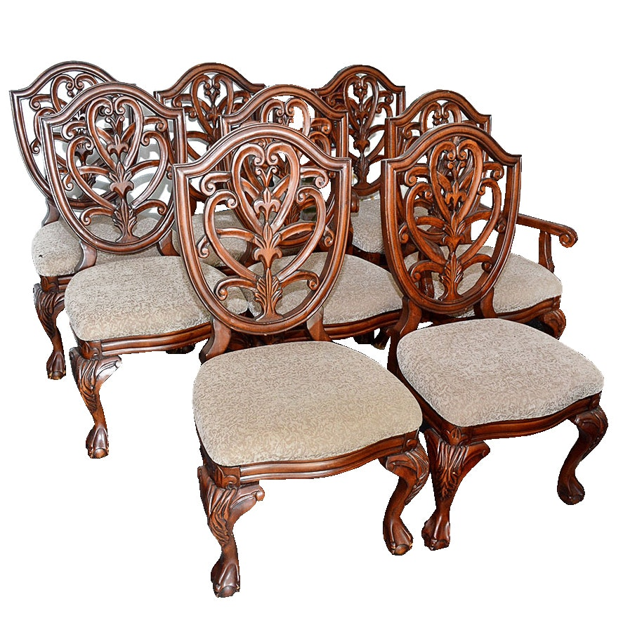 Set of Eight Shield Back Dining Chairs by Collezione Europa