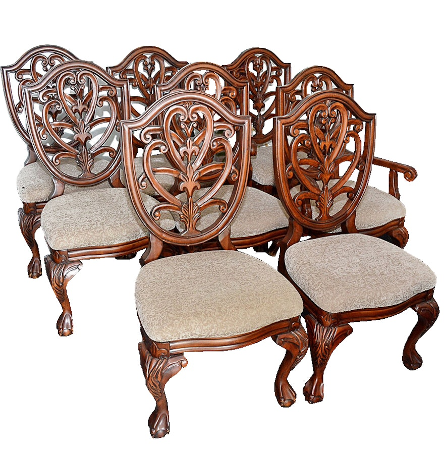 Shield Back Dining Room Chairs: Set Of Eight Shield Back Dining Chairs By Collezione