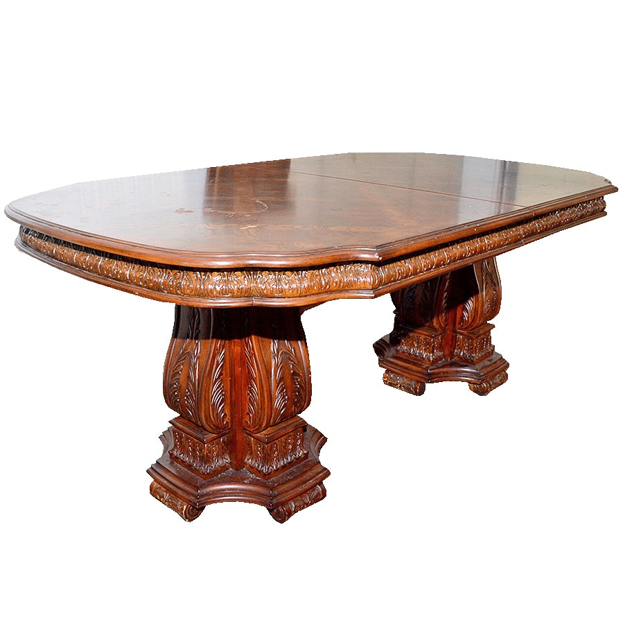 Collezione Europa Inlaid Double Pedestal Dining Table