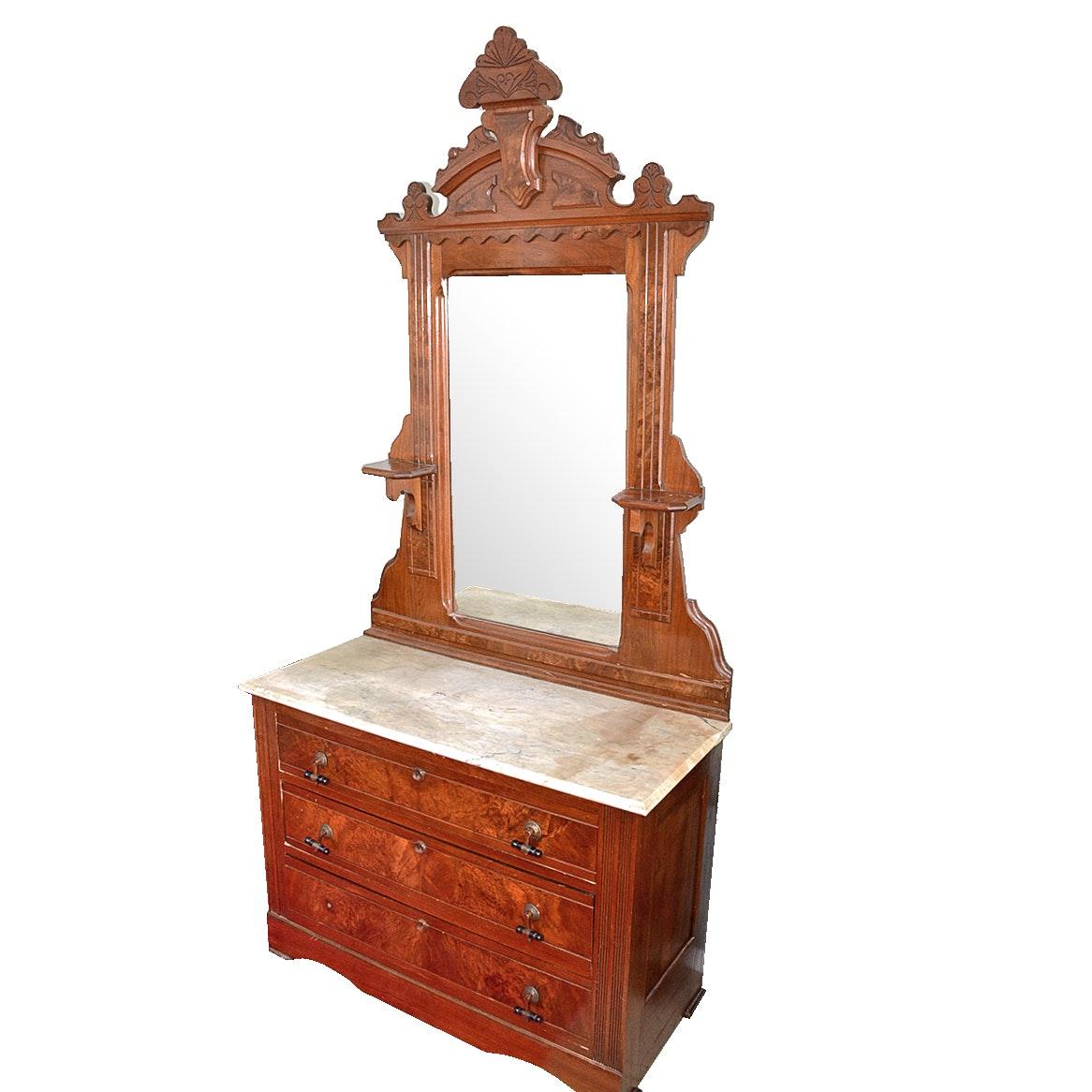 Antique Victorian Walnut Marble Top Dresser With Mirror