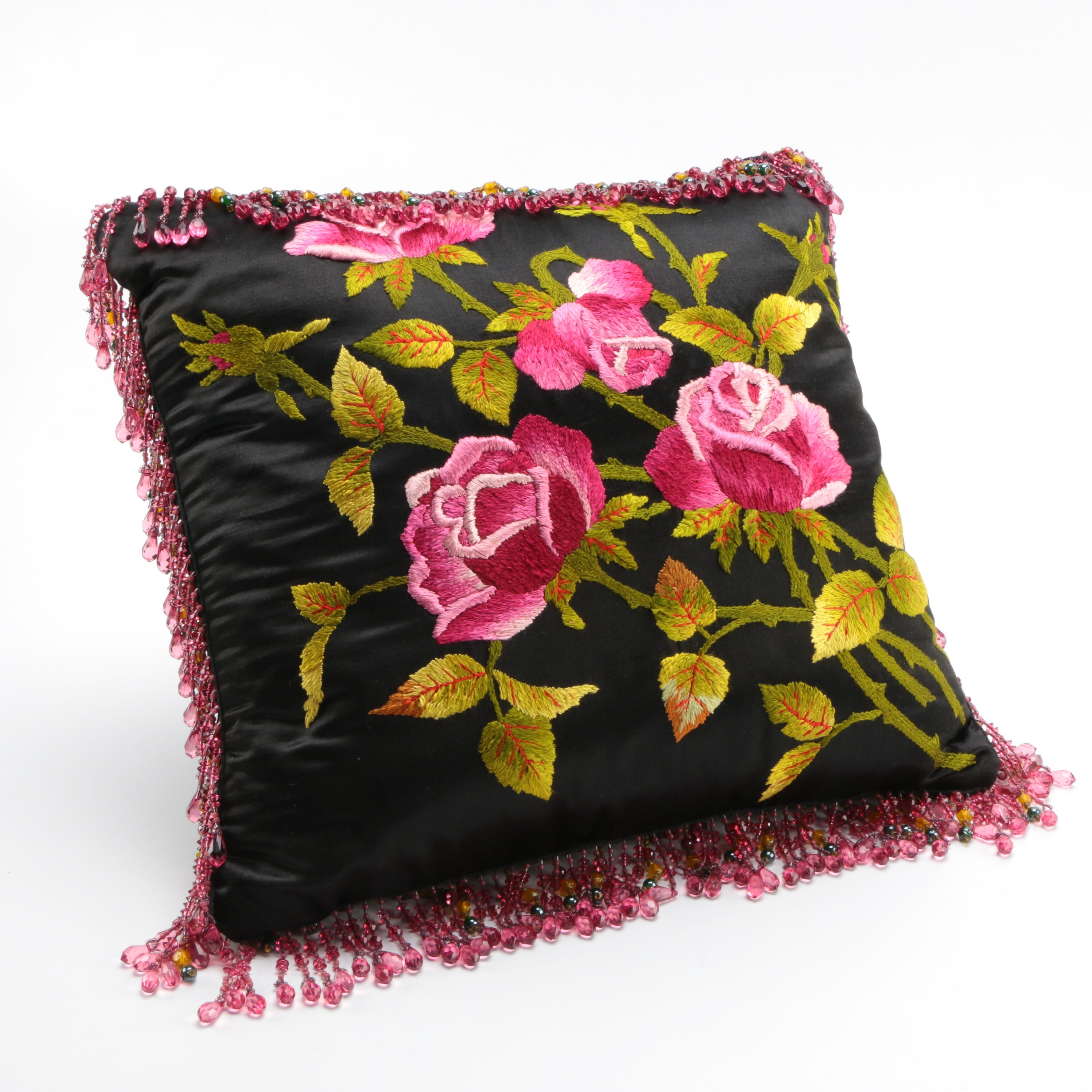 Beaded and Embroidered Floral Pillow