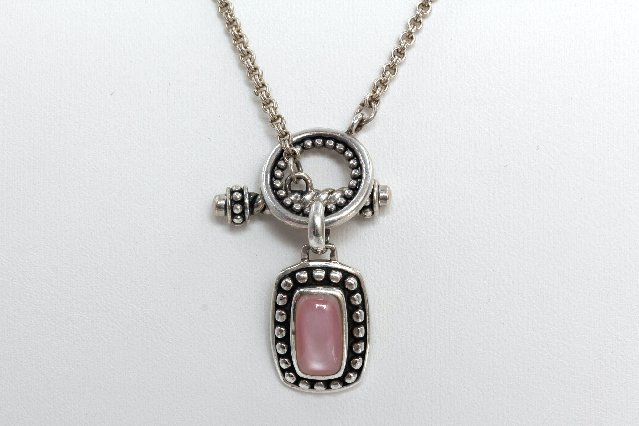 Sterling Silver Pink Mother of Pearl Pendant Necklace