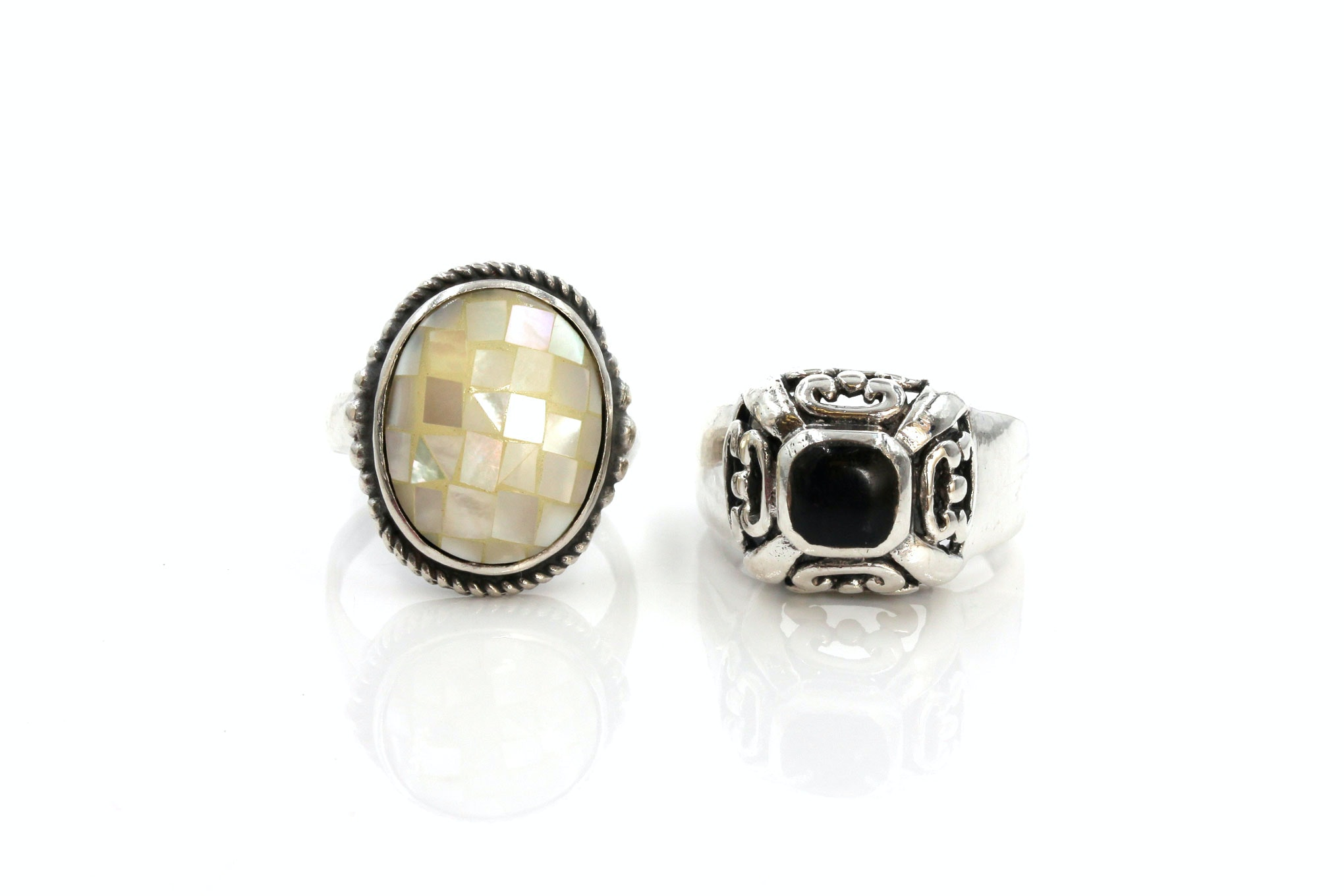 Sterling Silver Black Onyx and Mother of Pearl Ring