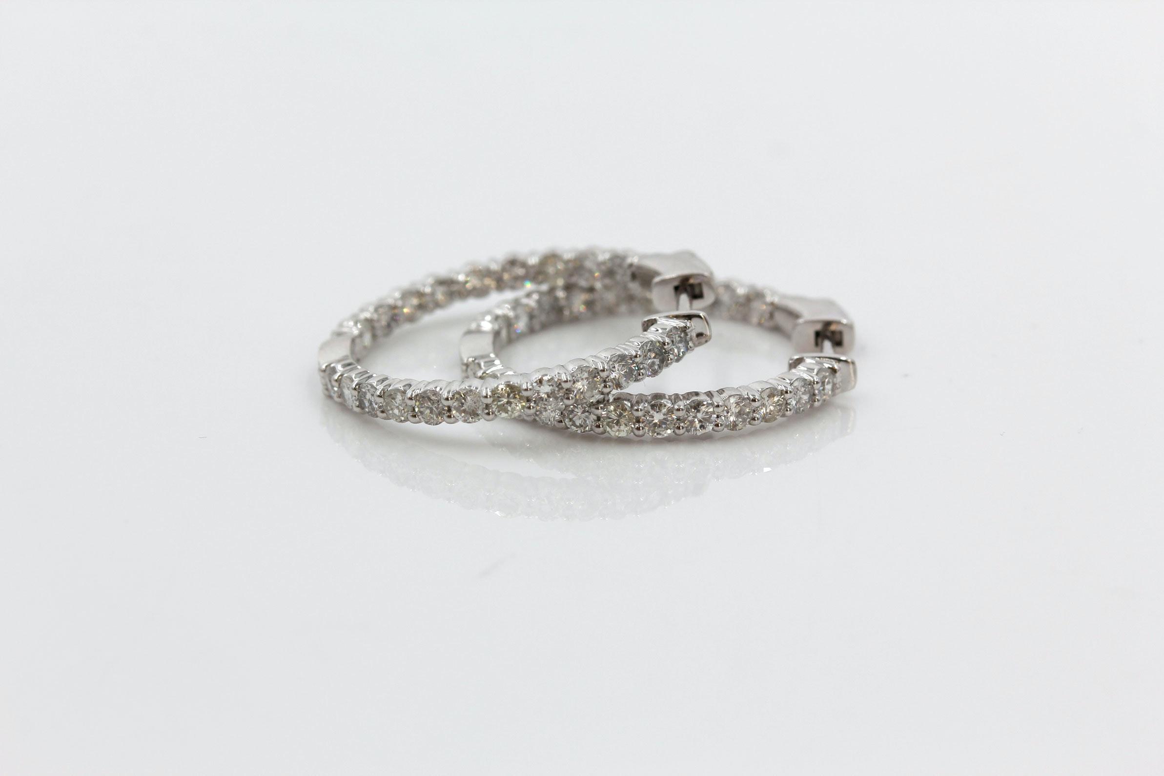 18K White Gold 2.05 CTW Diamond Inside Out Hoop Earrings