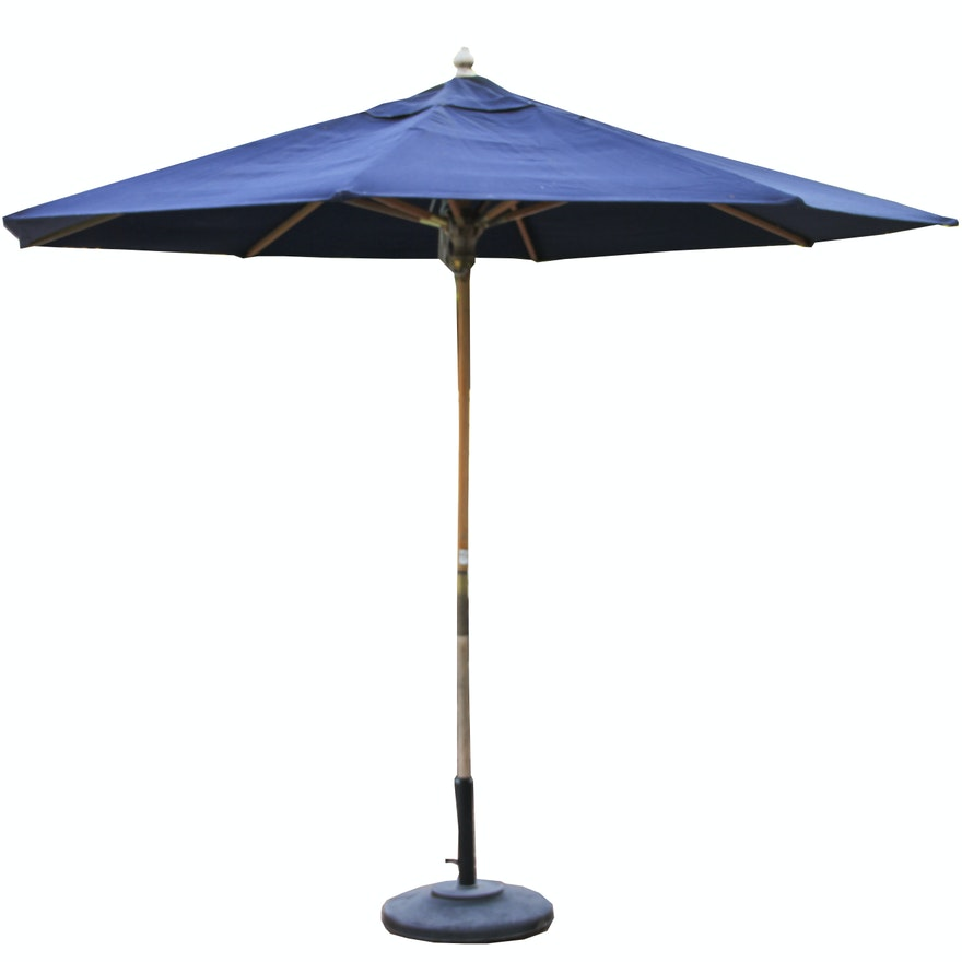 Cobalt Blue Outdoor Umbrella With Weighted Stand Ebth