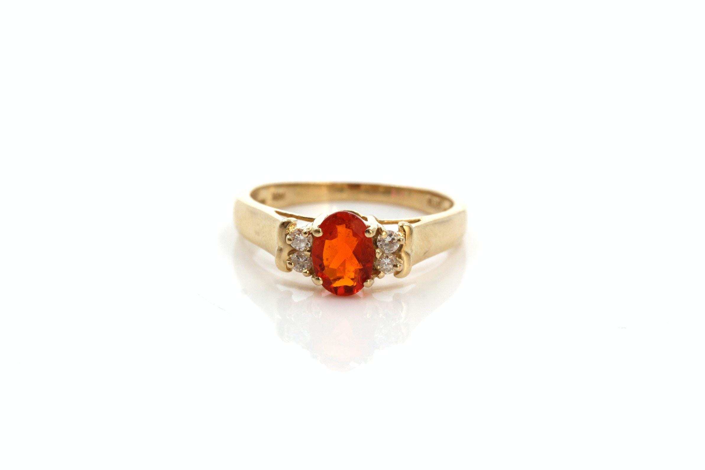 14K Yellow Gold Fire Opal and Diamond Ring