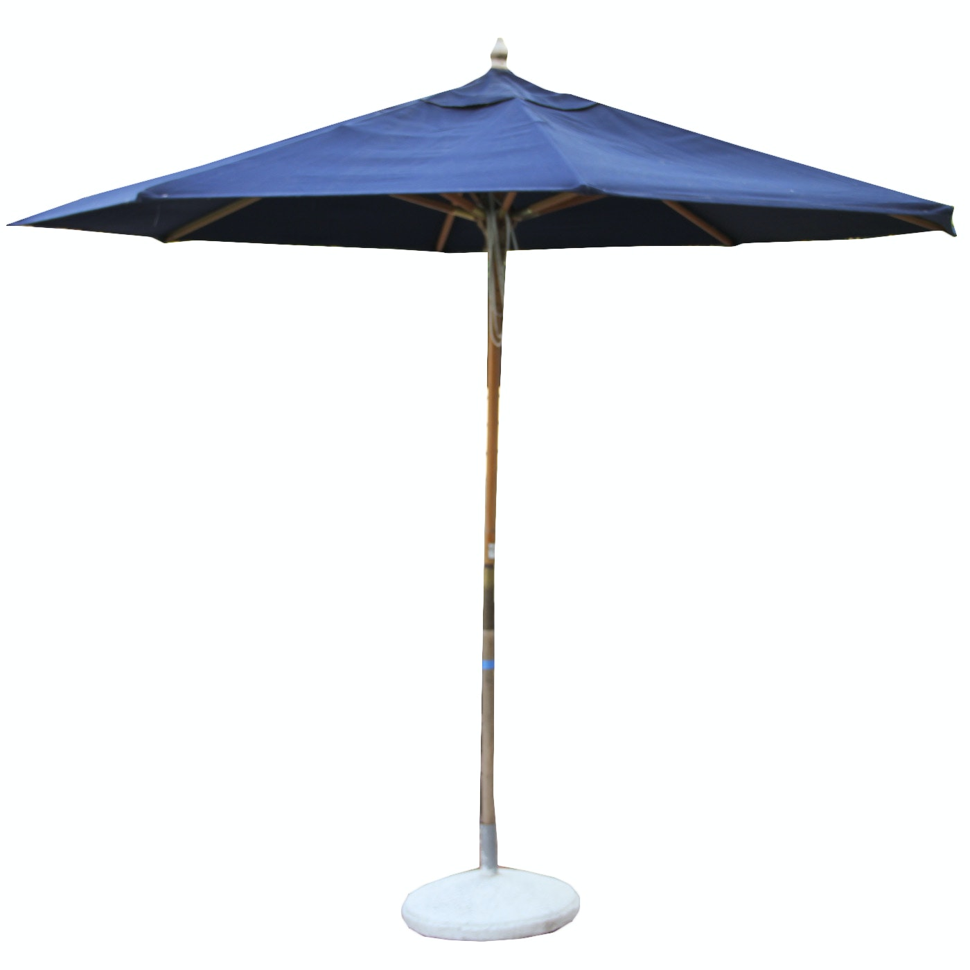 Cobalt Blue Outdoor Umbrella with Concrete Base