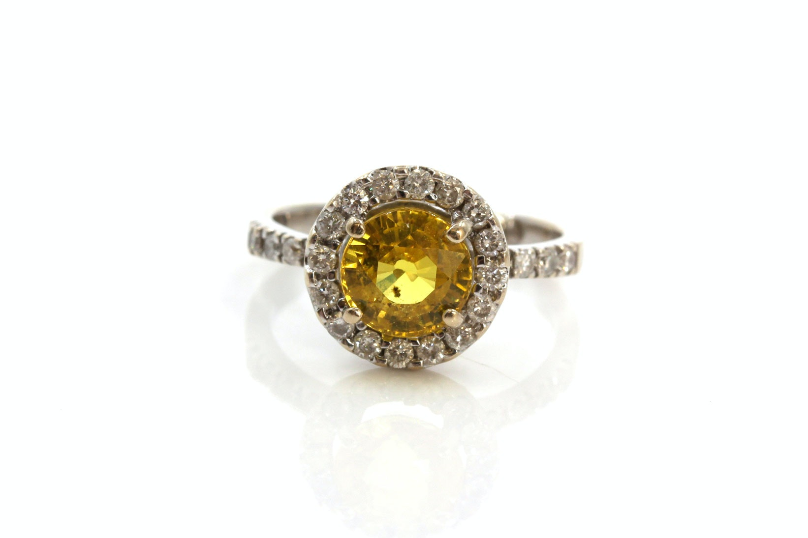 18K White Gold 1.95 CTS Yellow Sapphire and Diamond Ring