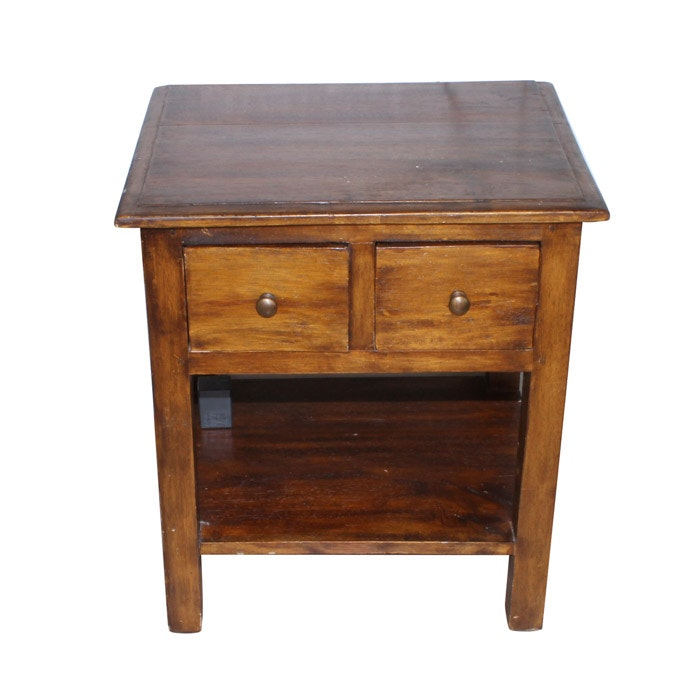 Wooden Two Drawer End Table