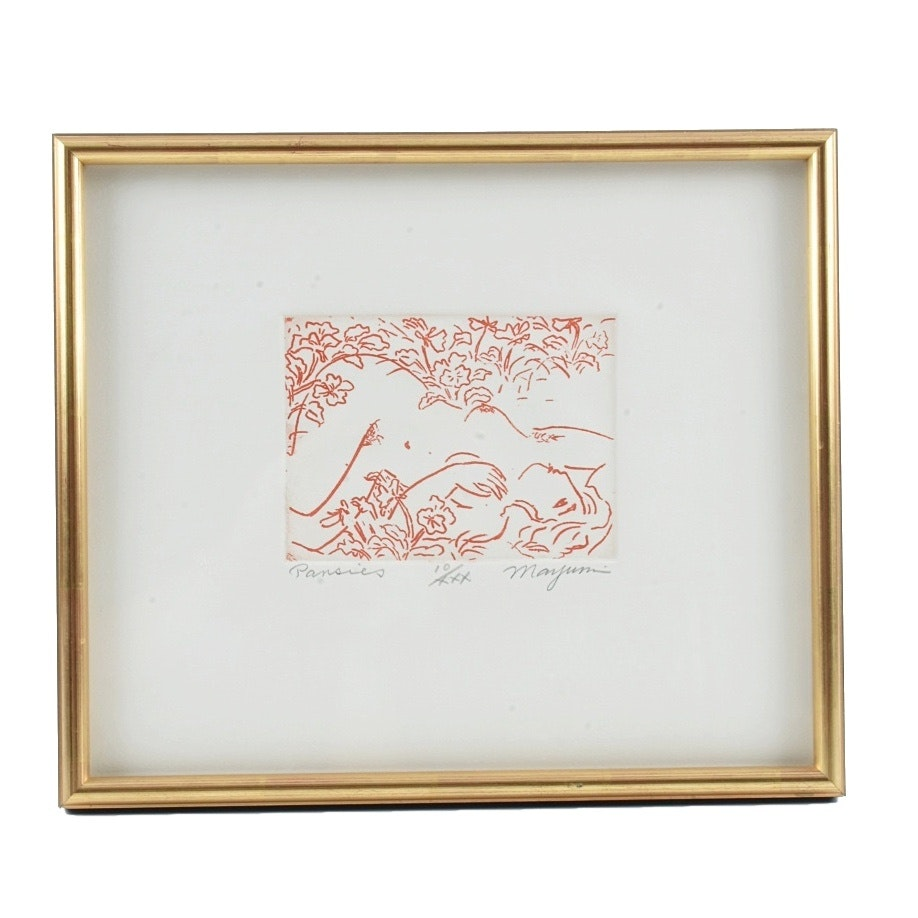 "Mayumi Oda Limited Edition Etching on Paper ""Pansies"""