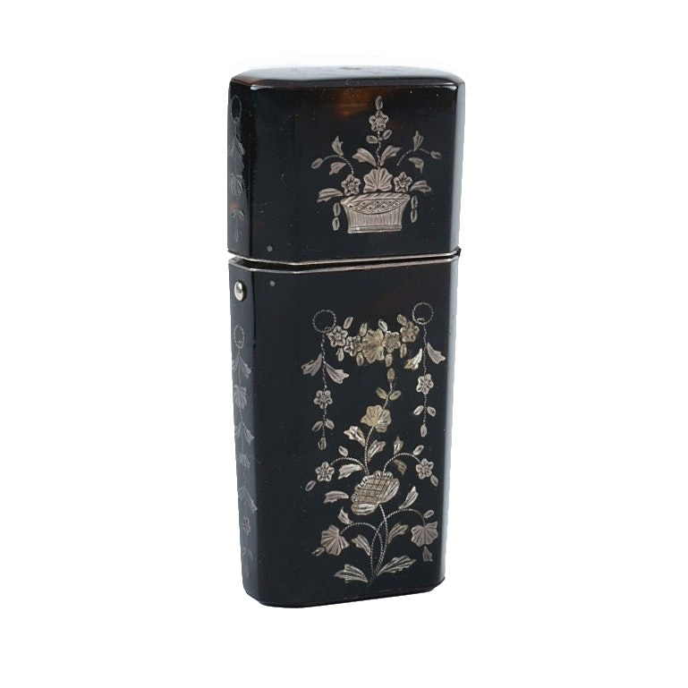 Early 19th Century French Tortoise Etui With Silver Inlay