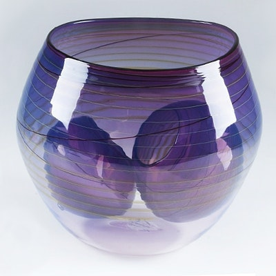 "Dale Chihuly Art Glass ""Royal Violet Basket Set"""