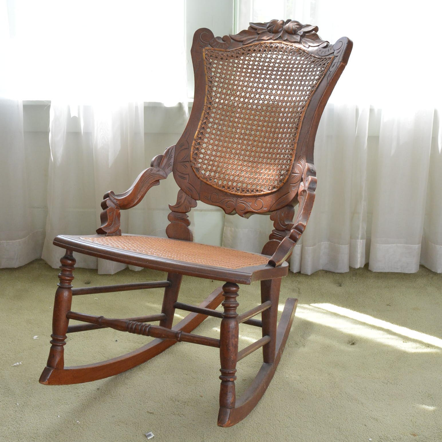 Antique Caned Walnut Rocking Chair