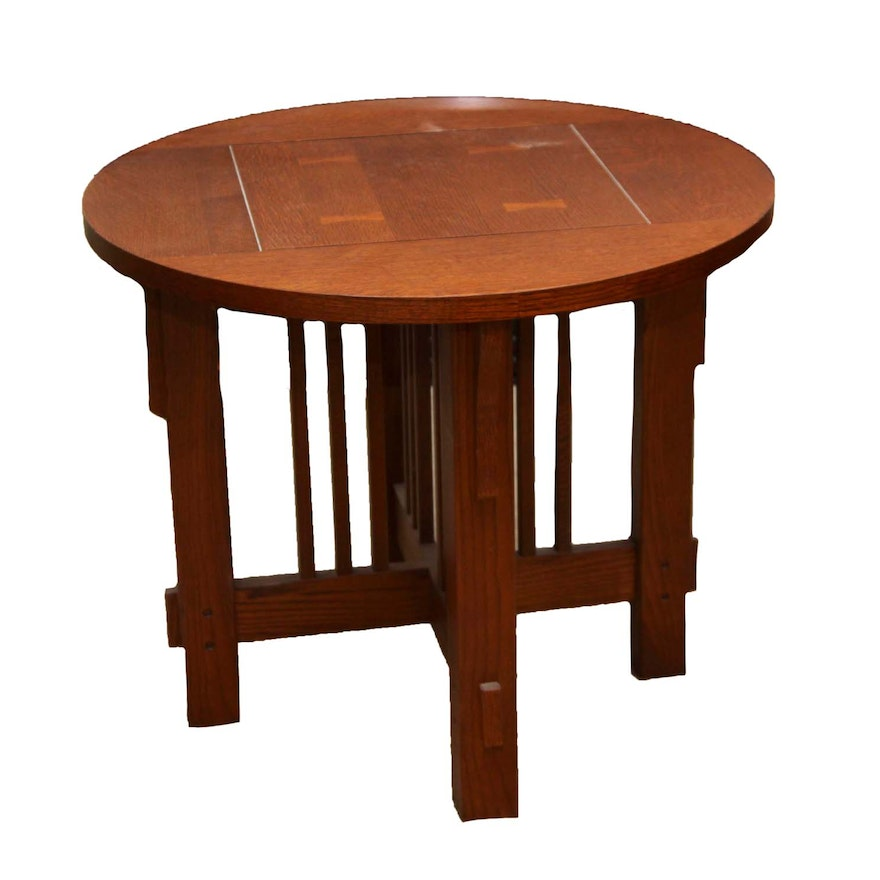 Mission Style Round End Table EBTH - Mission style round end table