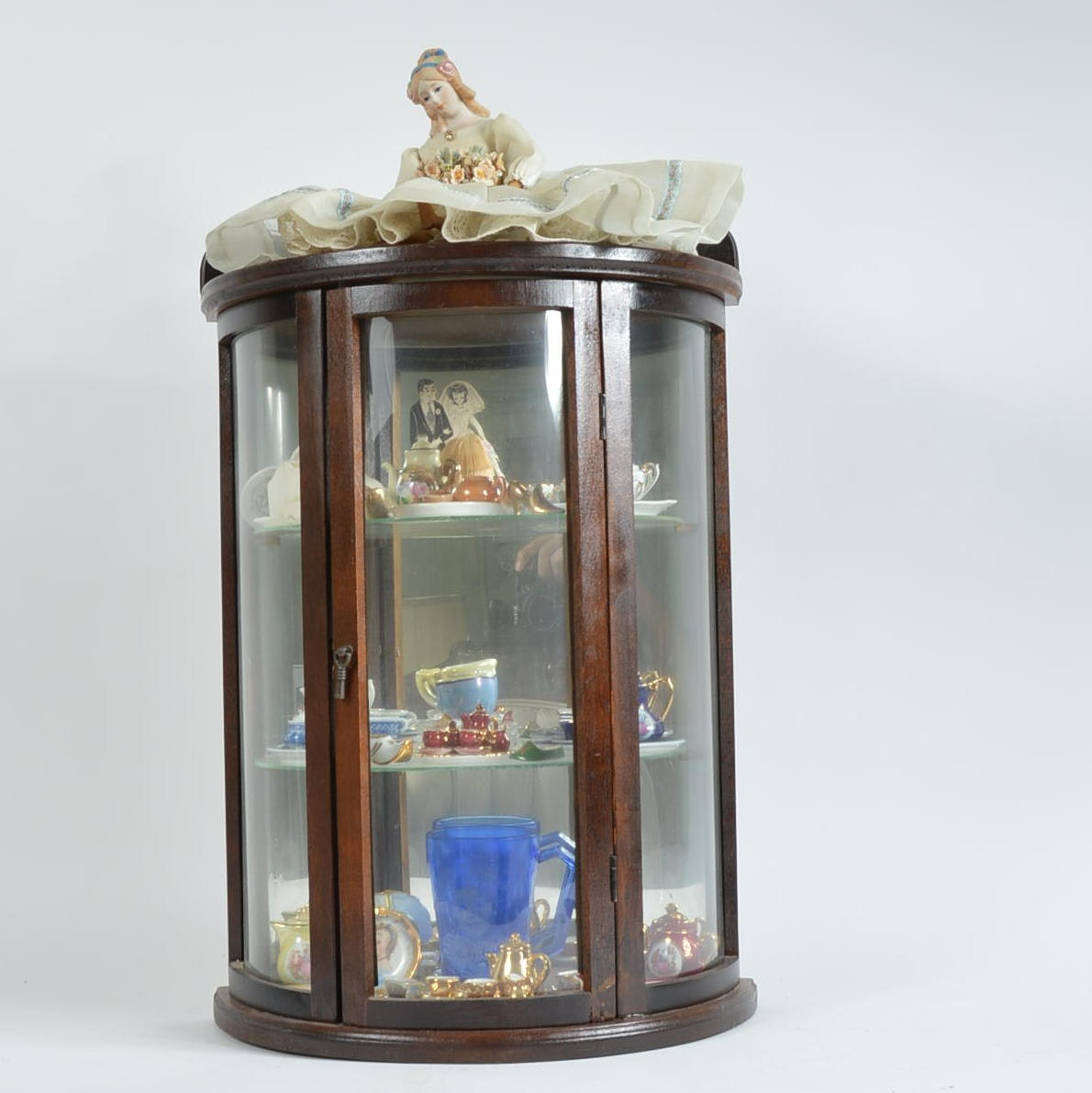 Doll Sized Curio Cabinet with Miniatures