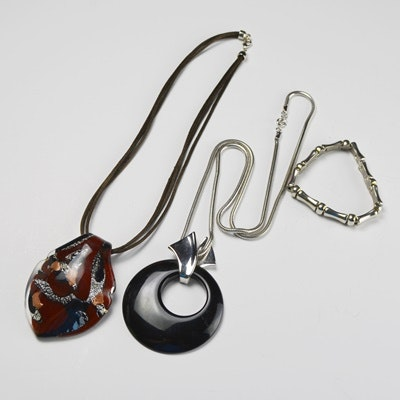 Murano Glass Pendant Necklace With Costume Pendant Necklace and Bracelet