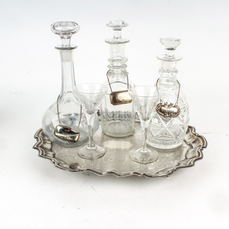 Barware Collection Including Decanters