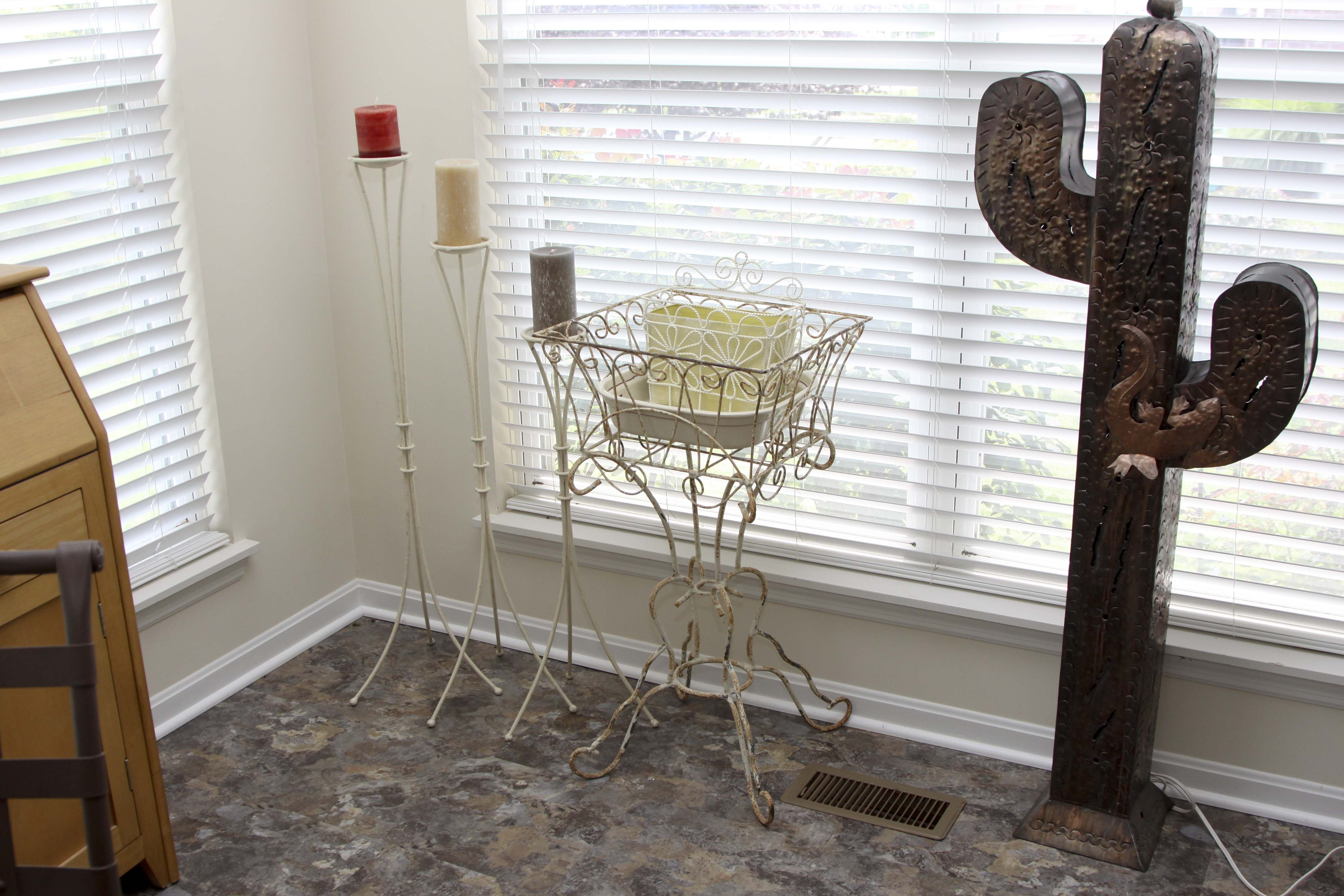 Metal Plant Stand, Candle Holders and Basket