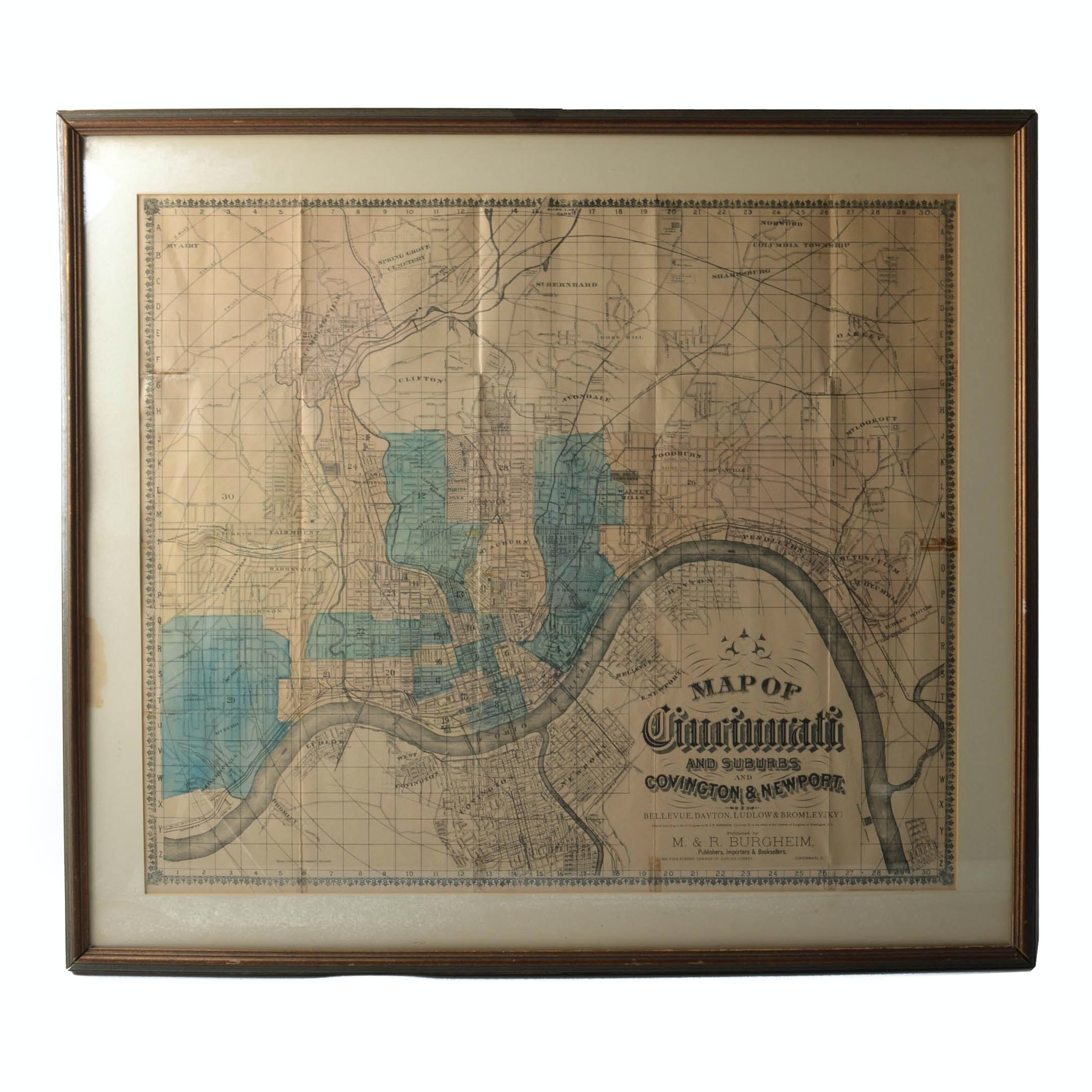 Framed 1886 Map of Cincinnati and Northern Kentucky Suburbs