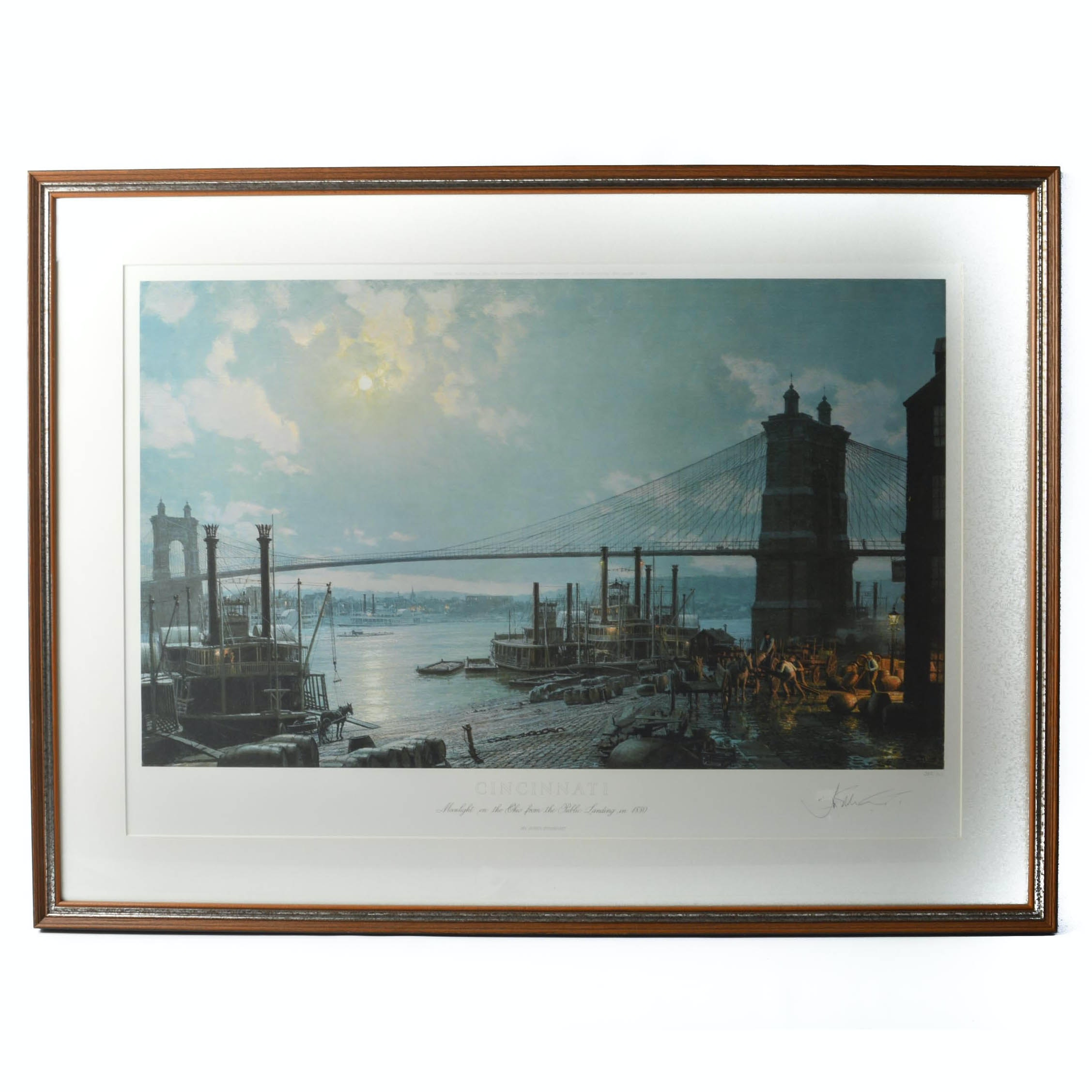 "John Stobart Signed Limited Edition Print ""Cincinnati: Moonlight on the Ohio from the Public Landing in 1880"""